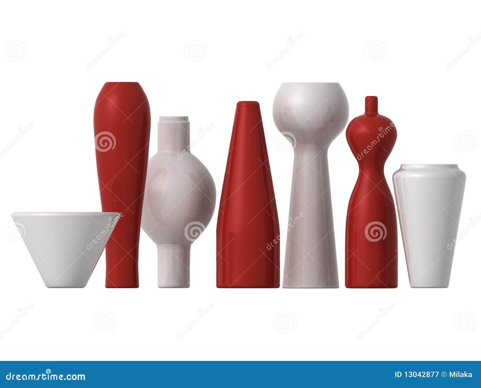 Vasi rossi e bianchi fotografia stock libera da diritti for Vasi rossi moderni