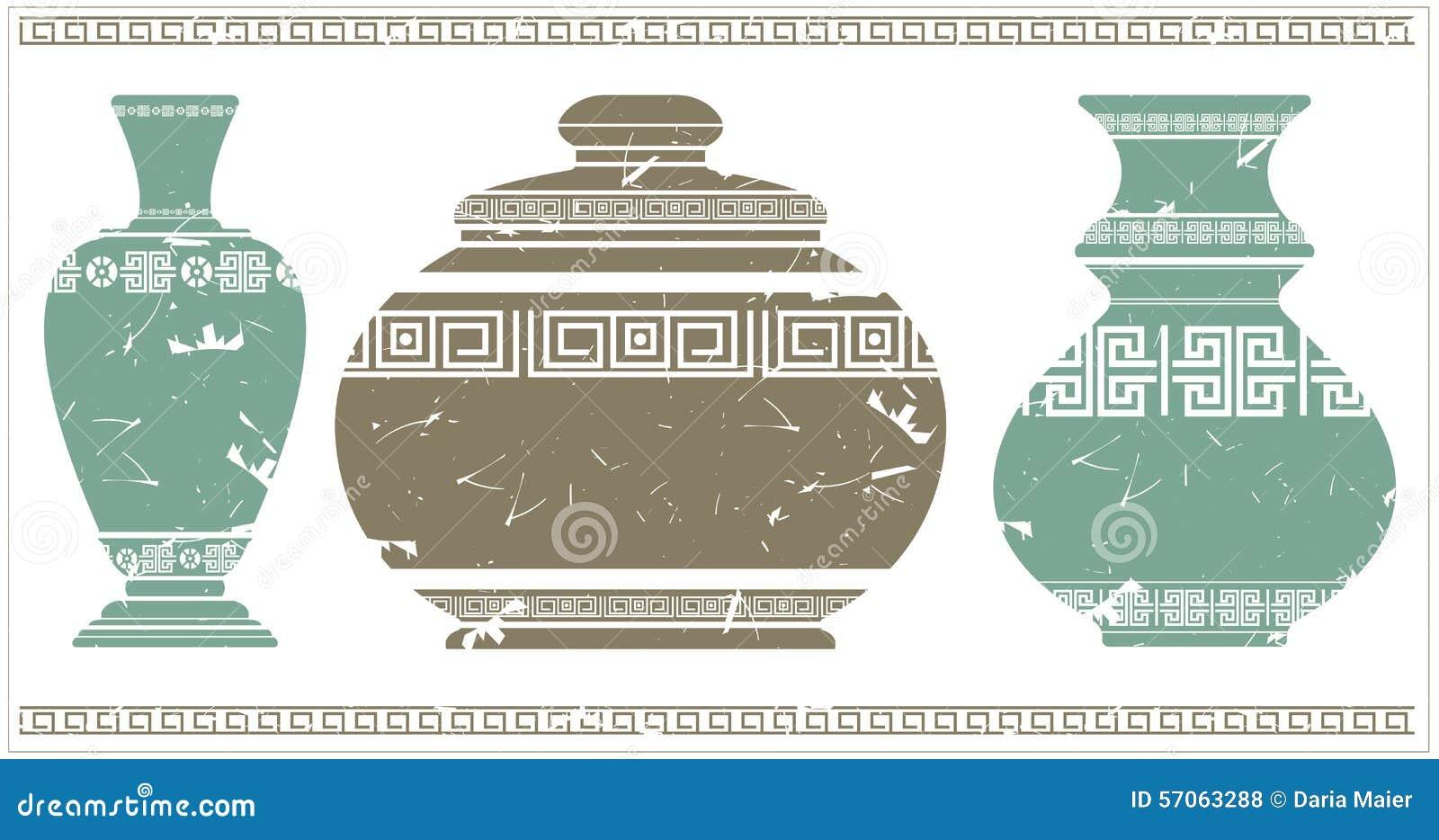 Vaso Antico Con L Ornamento Geometrico Greco Illustrazione