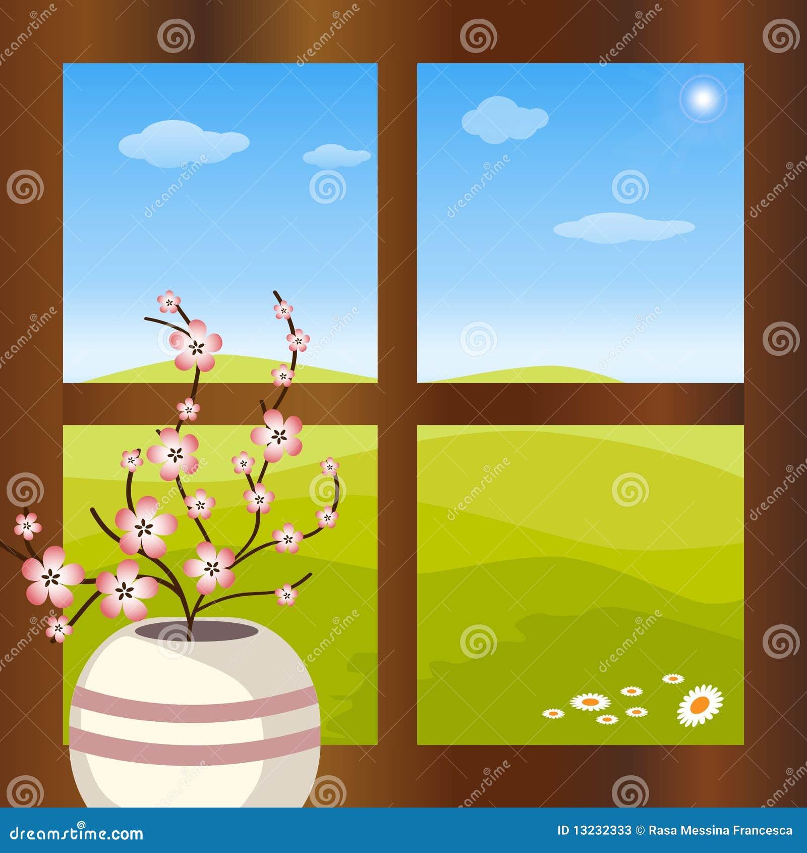 Vaso con i fiori davanti alla finestra illustrazione for Finestra con fiori disegno