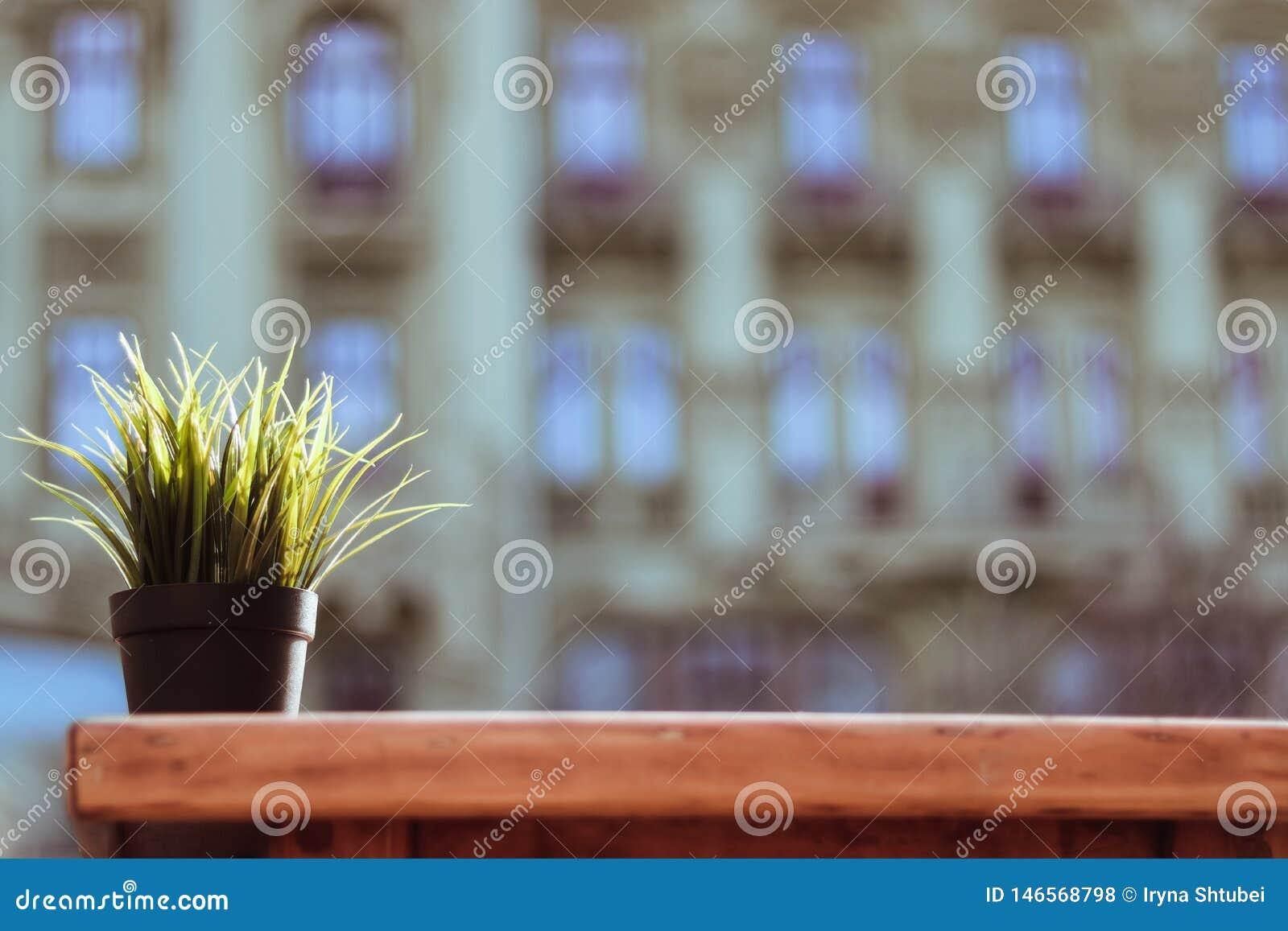 Vaso da fiori sulla tavola di legno