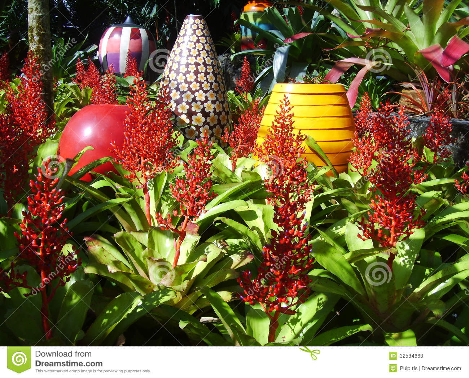 fotos de jardim florido : fotos de jardim florido:Vaso Florido Grande Para Decorar Um Jardim Da Bromeliácea Fotos de