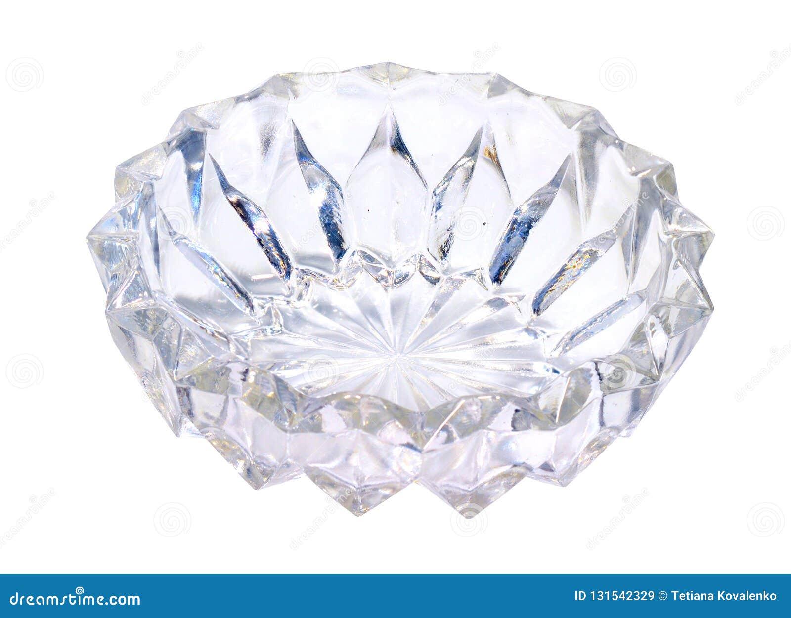 Vaso ou prato de vidro Isolado no fundo branco