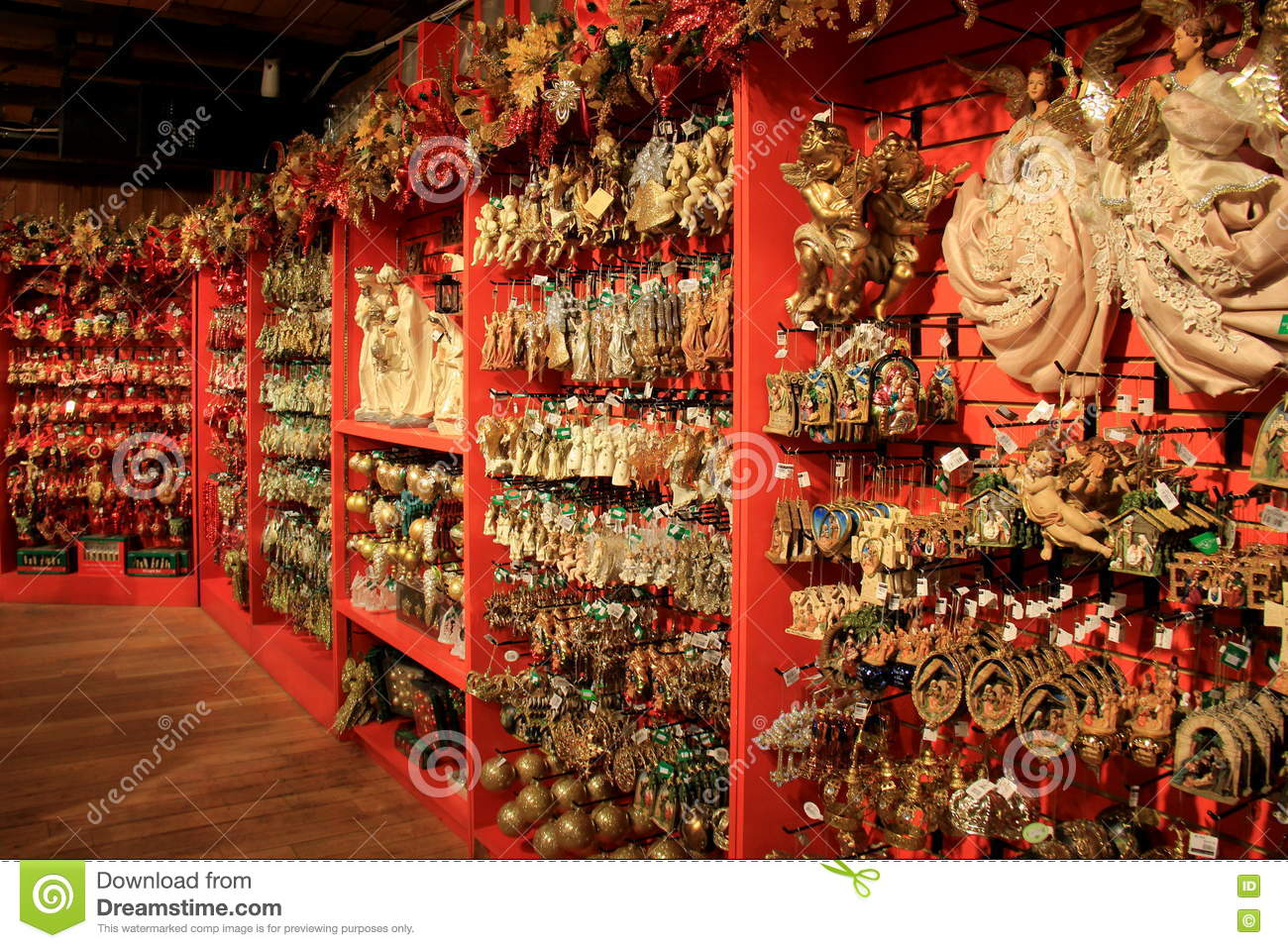 Vast array of holiday ornaments on display in the for The christmas shop