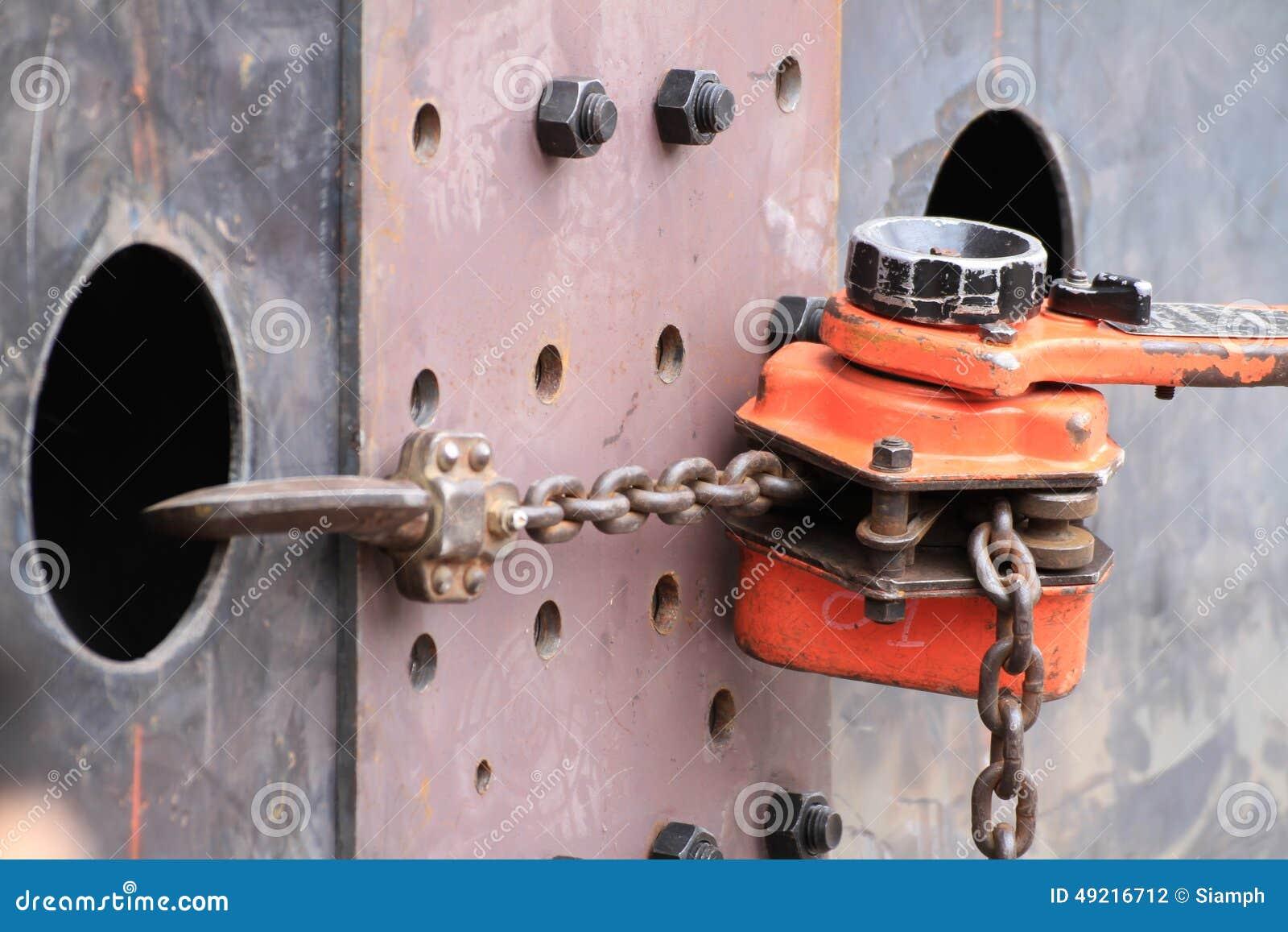 Vaste de plaatverbinding van de kettingshefboom hijstoestel voor balk