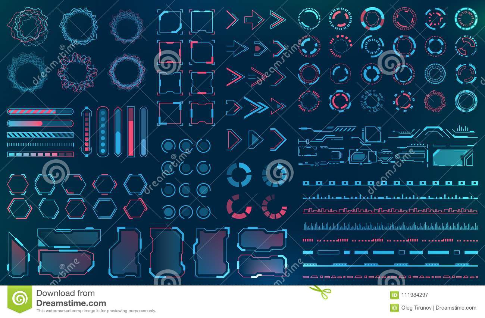 Vastgesteld HUD Interface Elements - Lijnen, Cirkels, Wijzers, Kaders, Bardownload voor Webtoepassingen