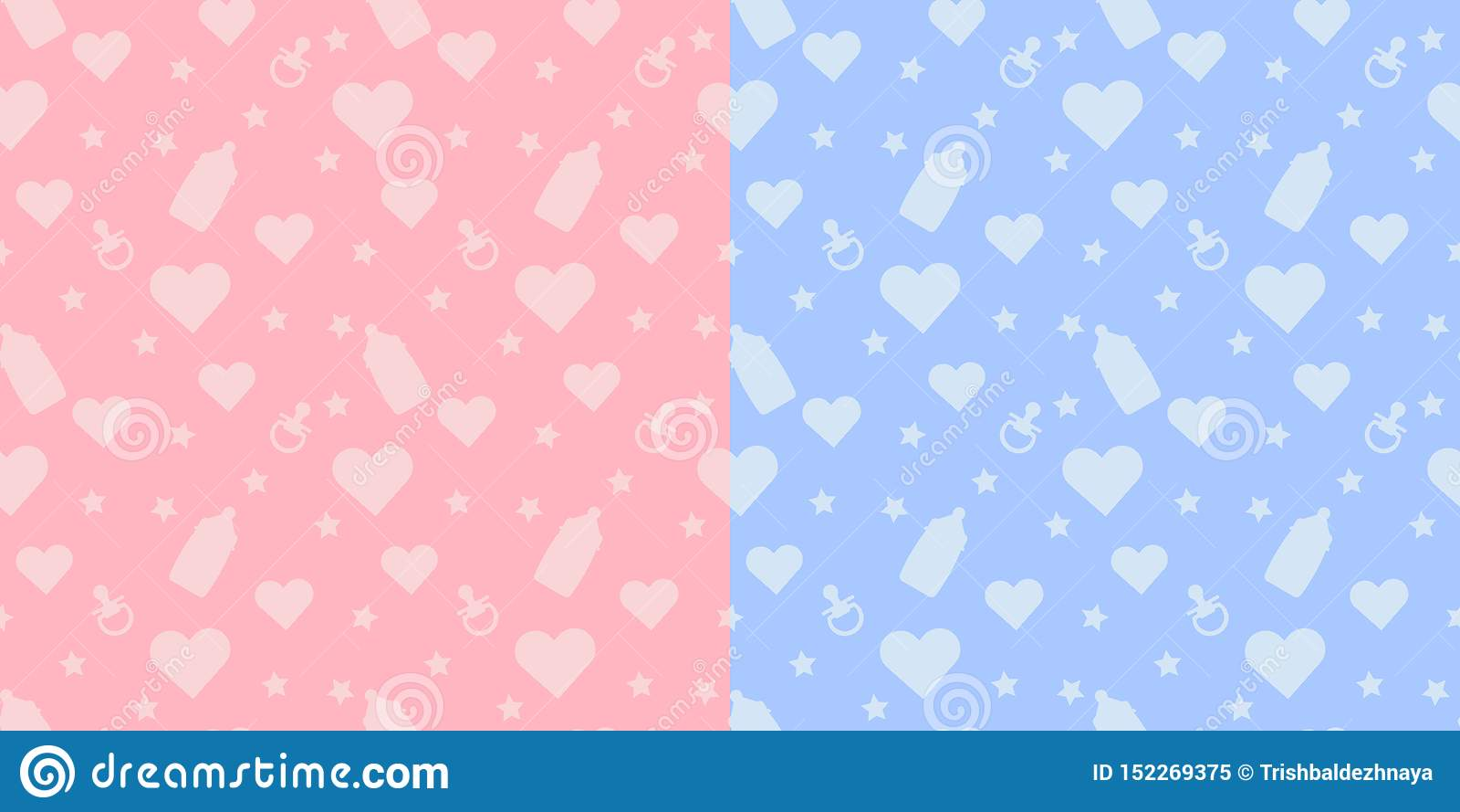 Vastgesteld jonge geitjes leuk naadloos patroon met vormen van zuigfles, fopspeen, hart op blauwe en roze achtergrond