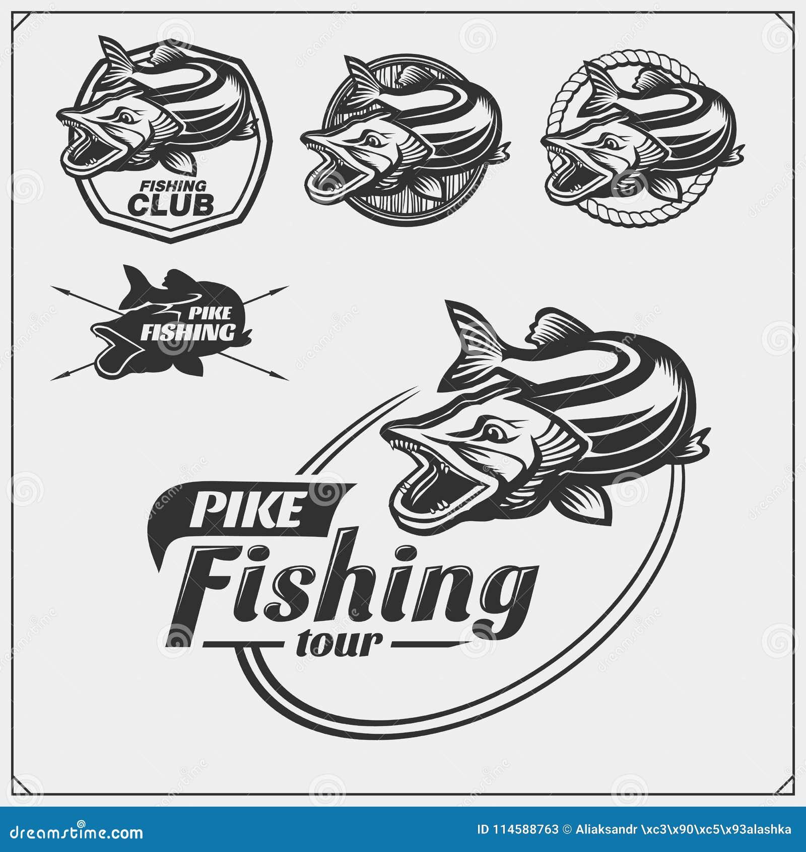 Vastgestelde af die etiketten met snoeken en een vistuig vissen Vissende emblemen en ontwerpelementen