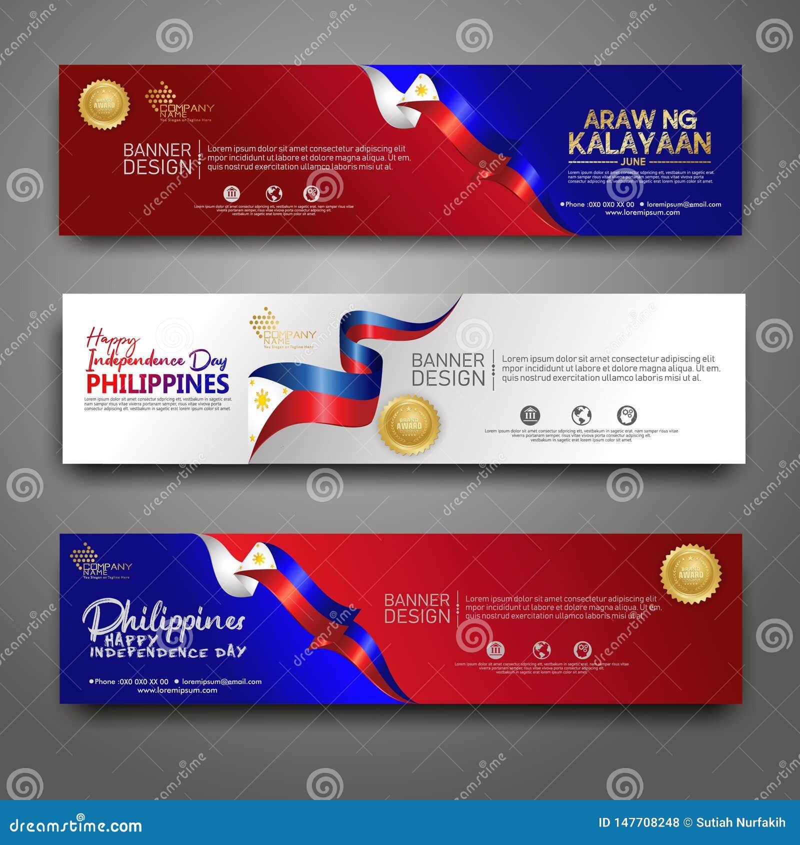 Vastgestelde bannerontwerpsjabloon De gelukkige moderne achtergrond van Filippijnen van de Onafhankelijkheidsdag