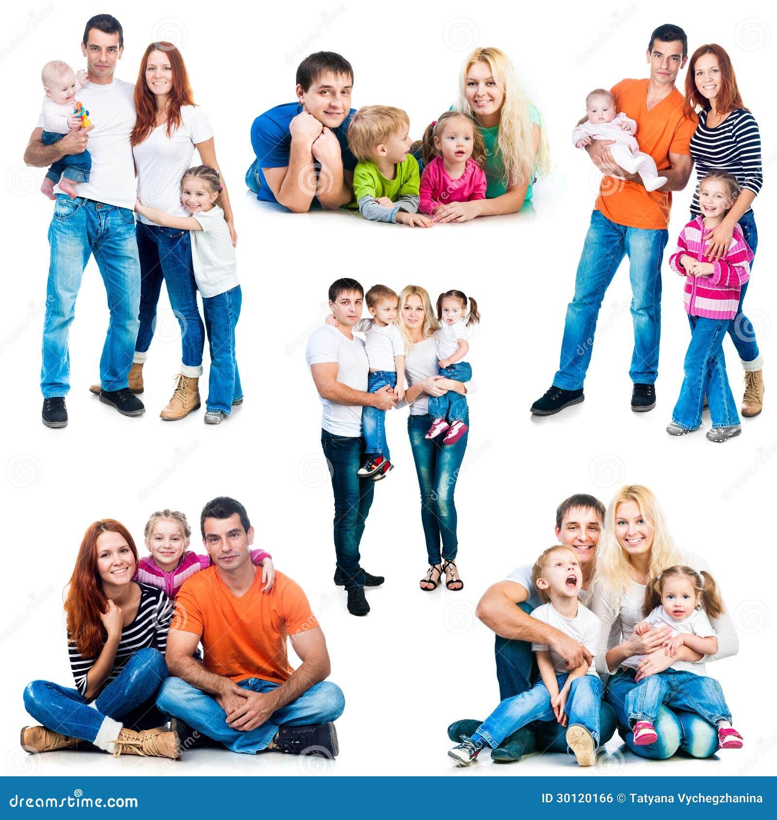 Gelukkige glimlachende families