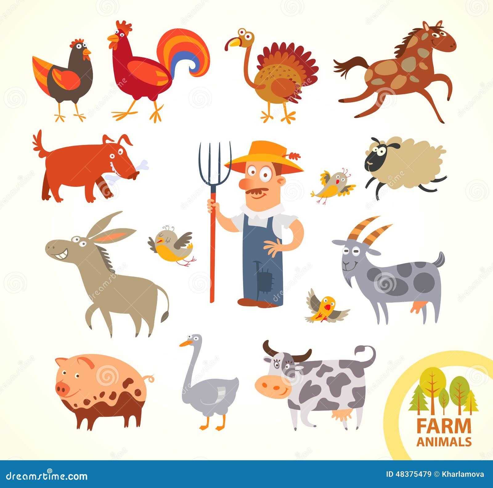 Vastgestelde grappige landbouwbedrijf kleine dieren Het karakter van het beeldverhaal