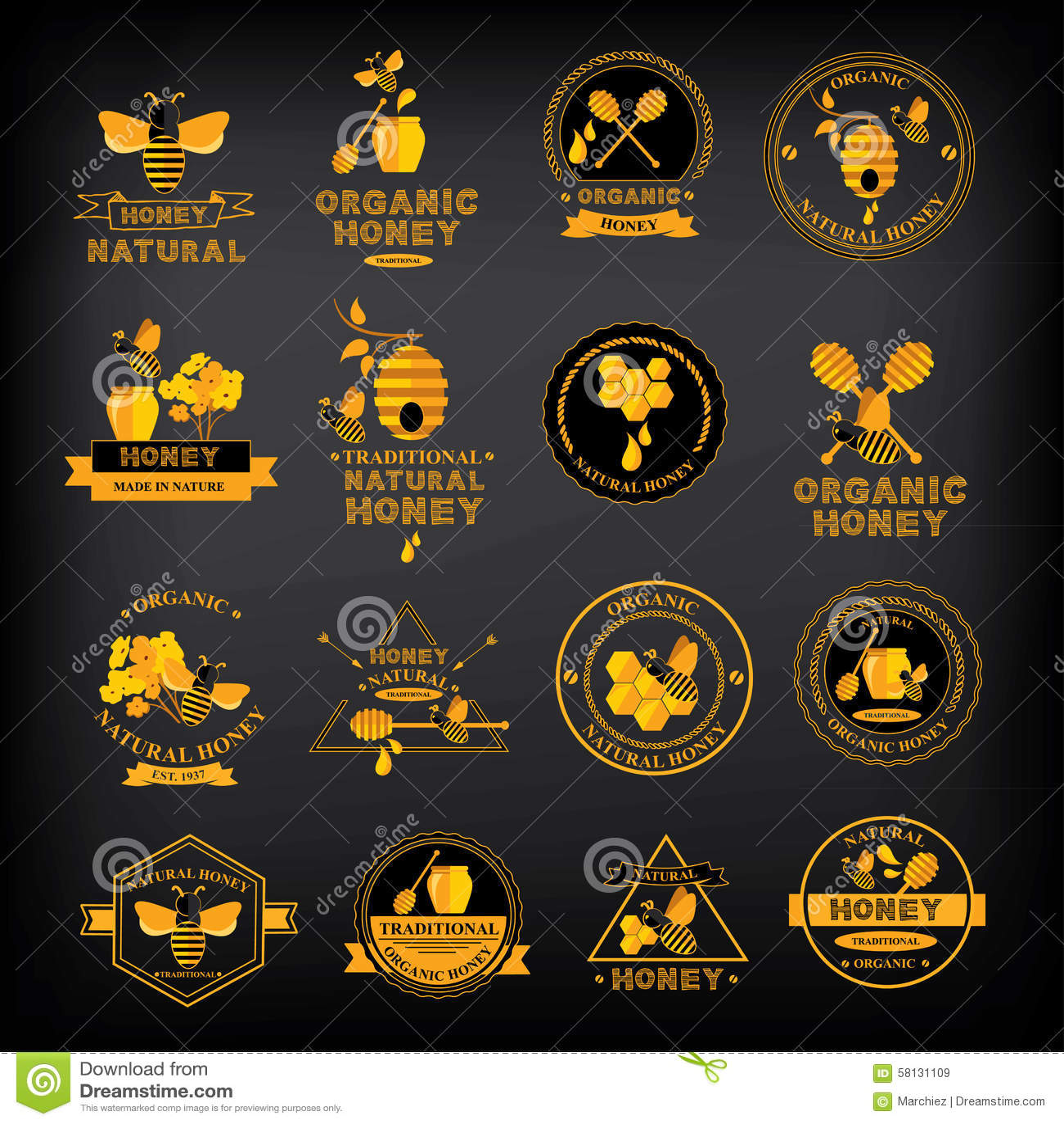 Vastgestelde Honingskentekens en etiketten Abstract bijenontwerp