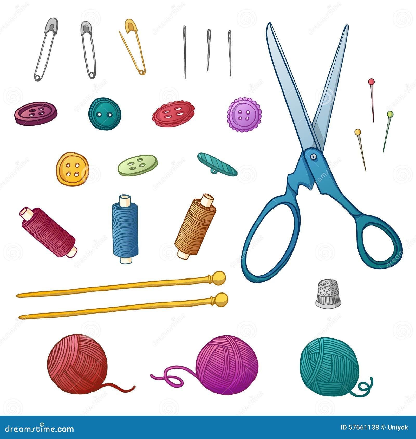 Vastgestelde kleur van het naaien van punten reeks voor handwerk en vector illustratie - Kleur idee voor het leven ...