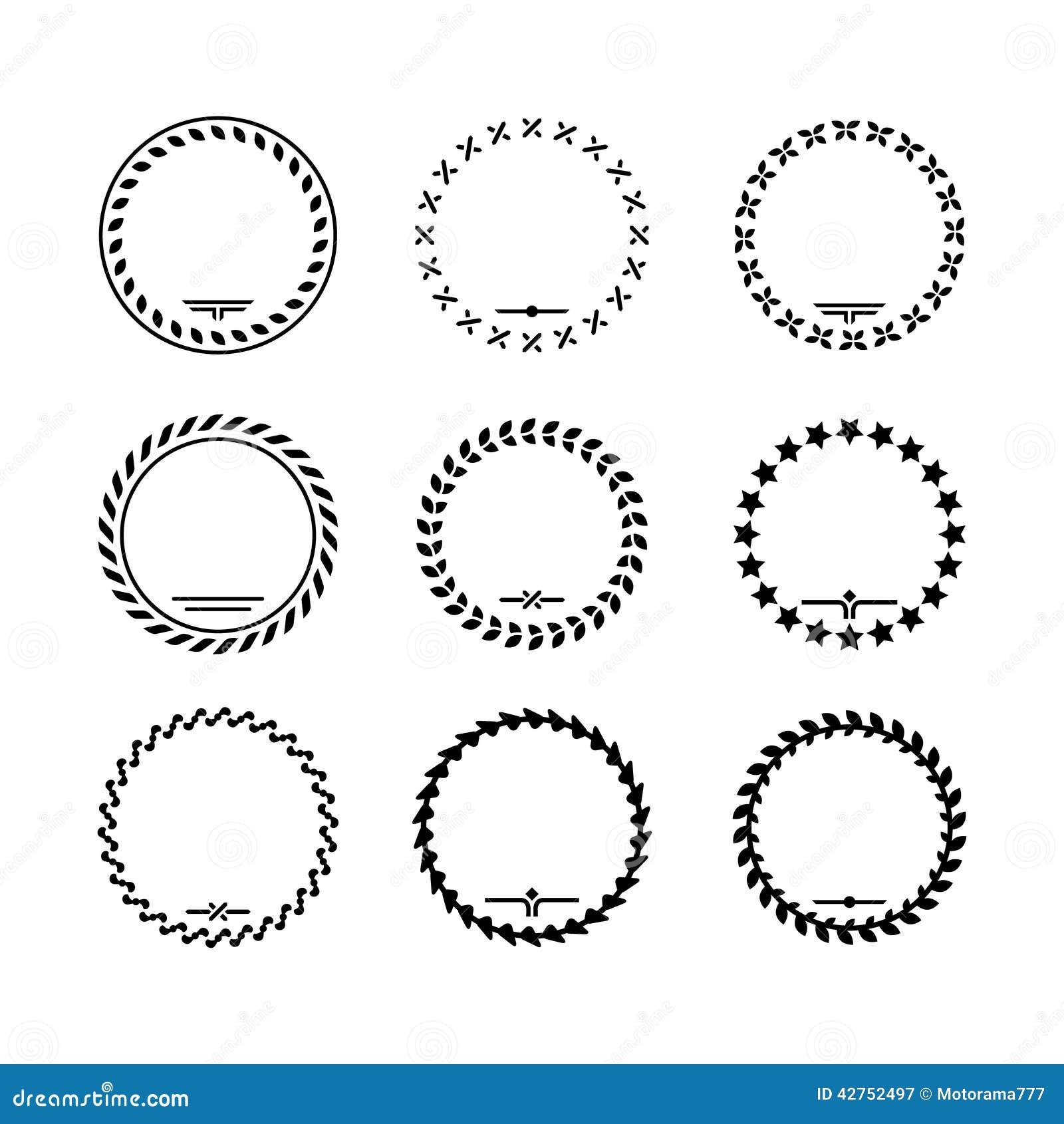 Vastgestelde pictogrammen van lauwerkrans en moderne kaders vector illustratie afbeelding - Moderne overwinning ...