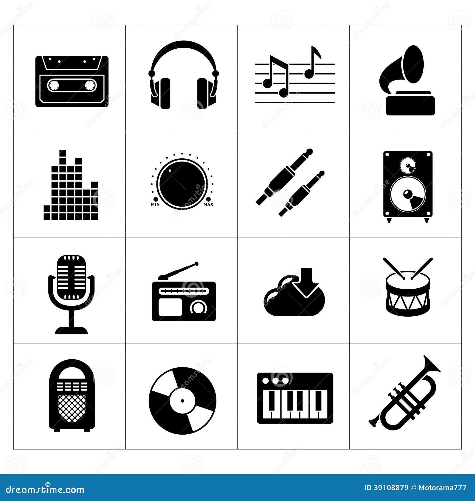 Vastgestelde pictogrammen van muziek en geluid