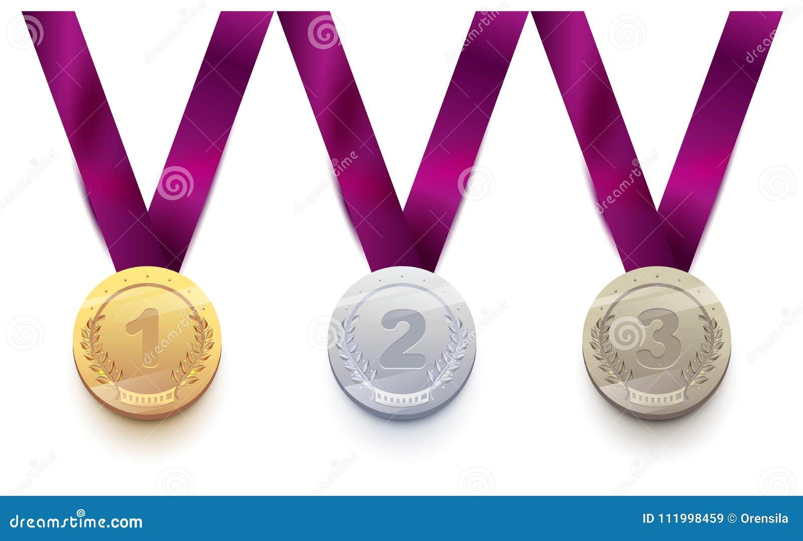 Vastgestelde sportmedaille 1 goud, 2 zilver, brons 3