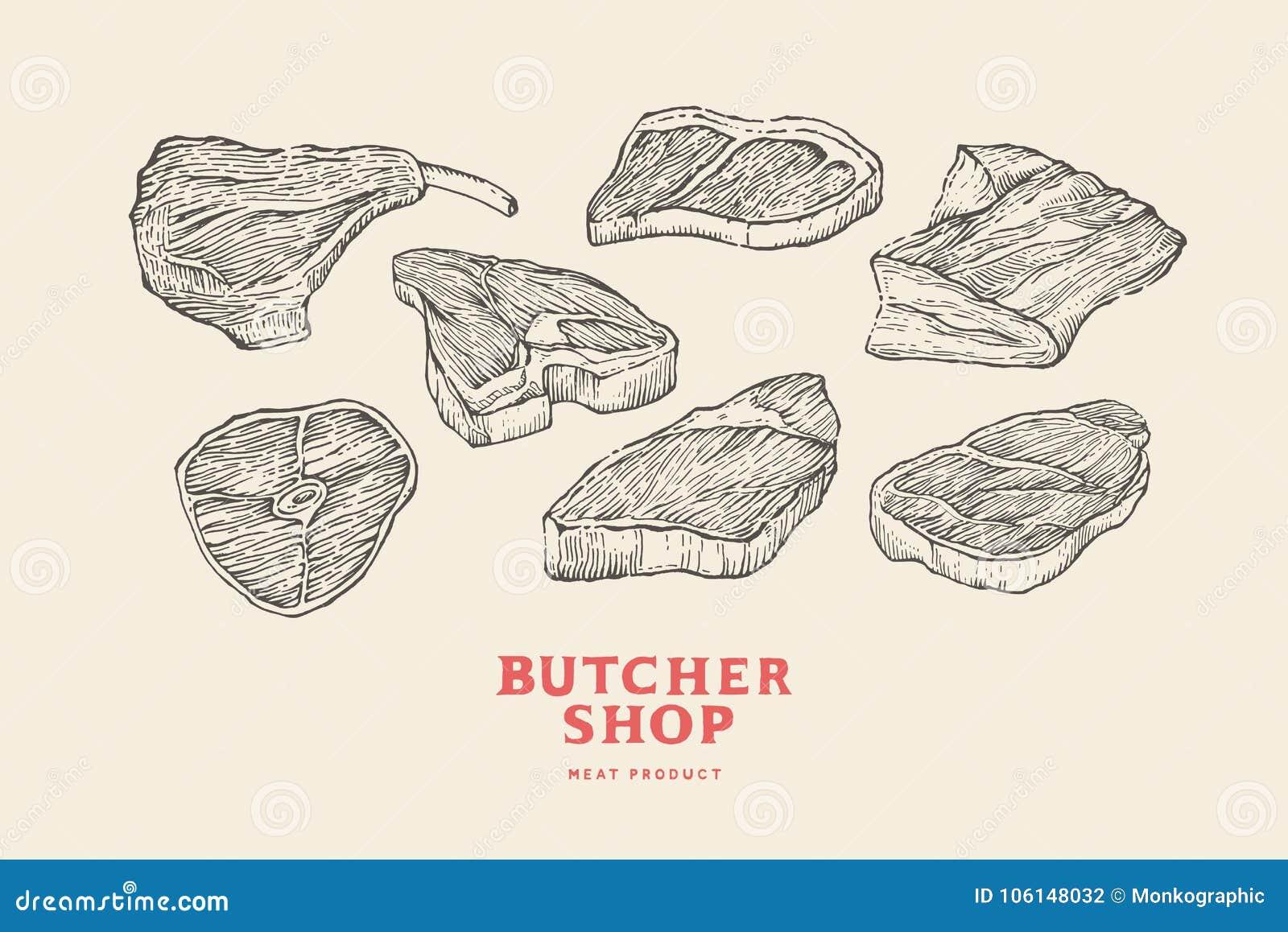 Vastgestelde uitstekende hand-drawn verschillende besnoeiingen van vlees Gravurebeelden voor concept landbouwers` s markt en wink