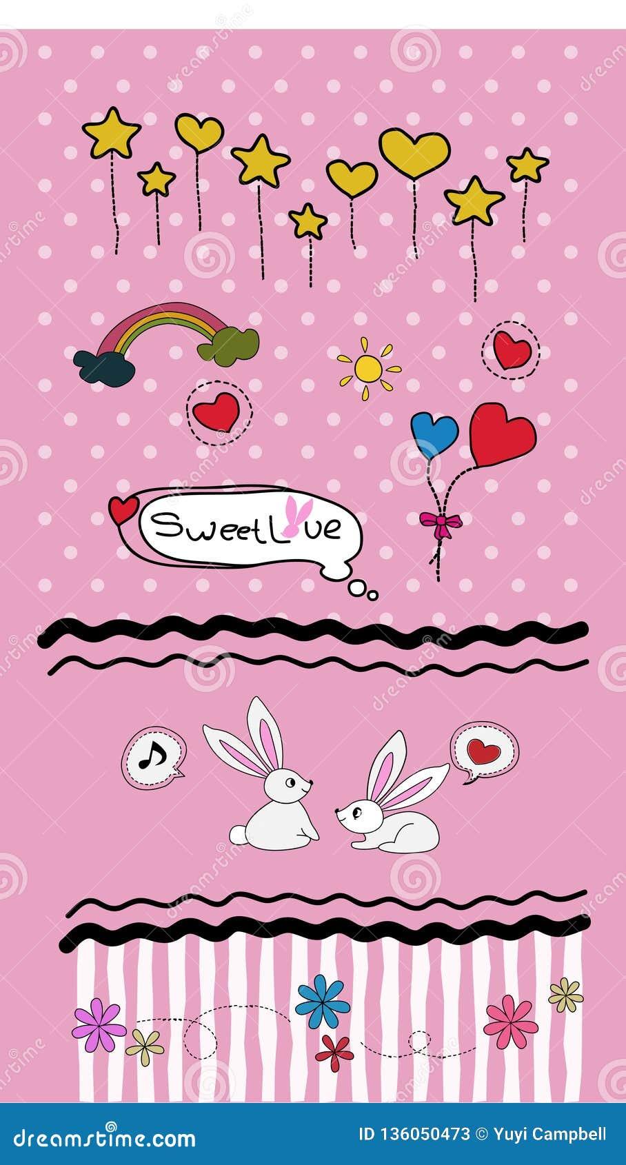 Vastgestelde Valentijnskaartenkrabbels - veel leuke ontwerpelementen - Vector
