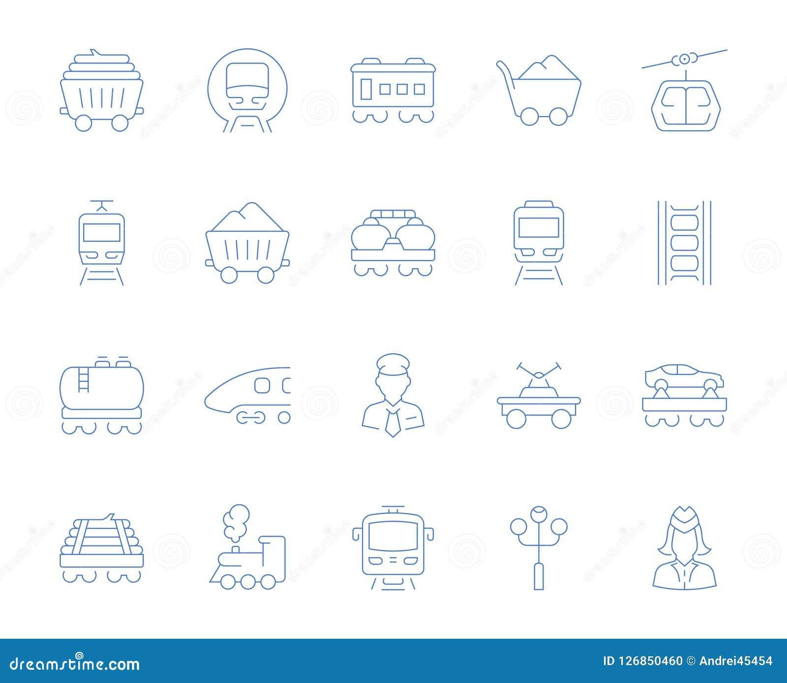Vastgestelde Vectorlijnpictogrammen van Spoorwegvervoer