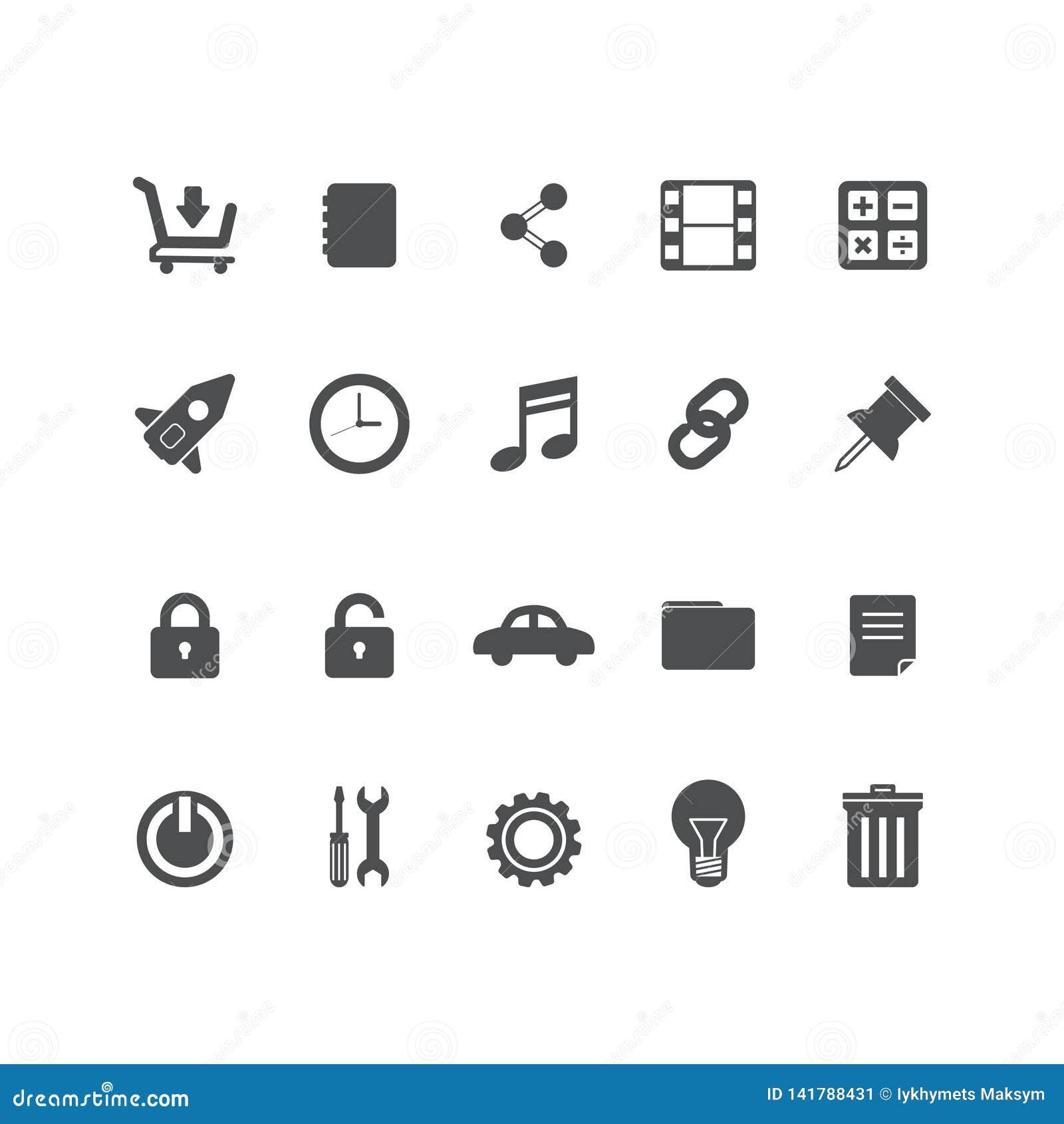 Vastgestelde vectorlijnpictogrammen in vlakke ontwerpbureau en zaken met elementen voor mobiel concepten en Web apps Moderne inza