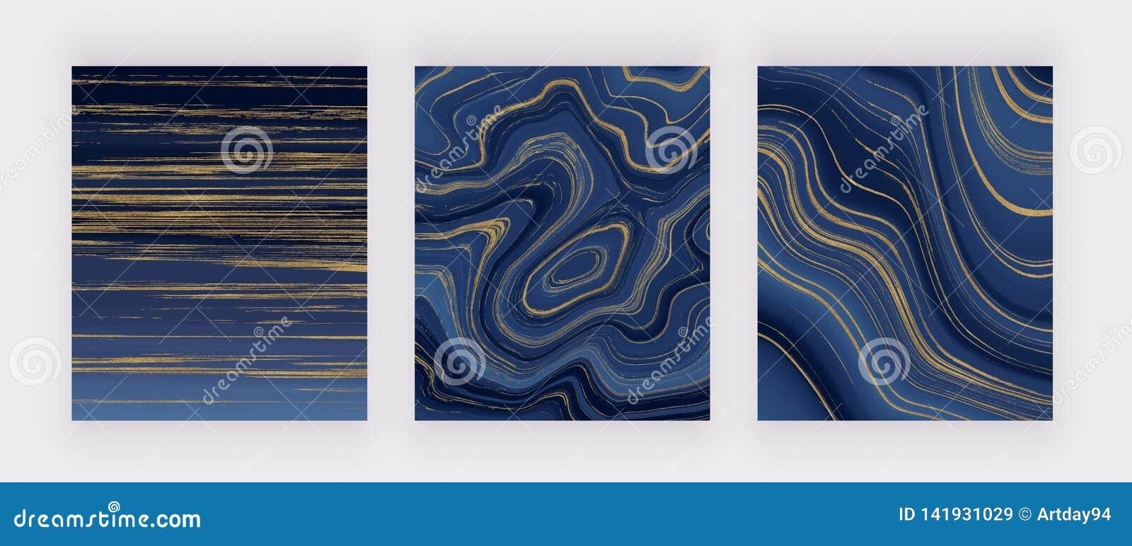 Vastgestelde vloeibare marmeren textuur Blauw en gouden schitter inkt schilderend abstract patroon In achtergronden voor behang,