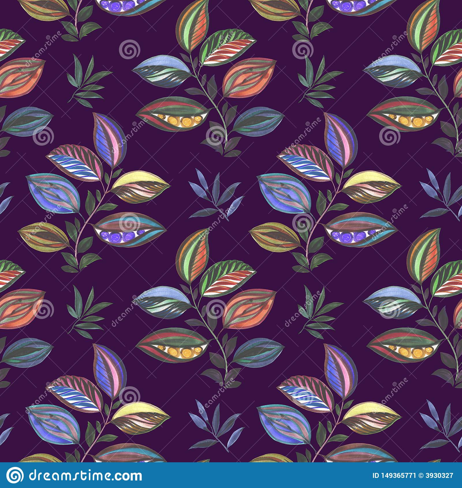 Vat ornament samen Kleurrijke illustratie Waterverftekening van bladeren van verschillende kleuren Bladeren en takken voor ontwer