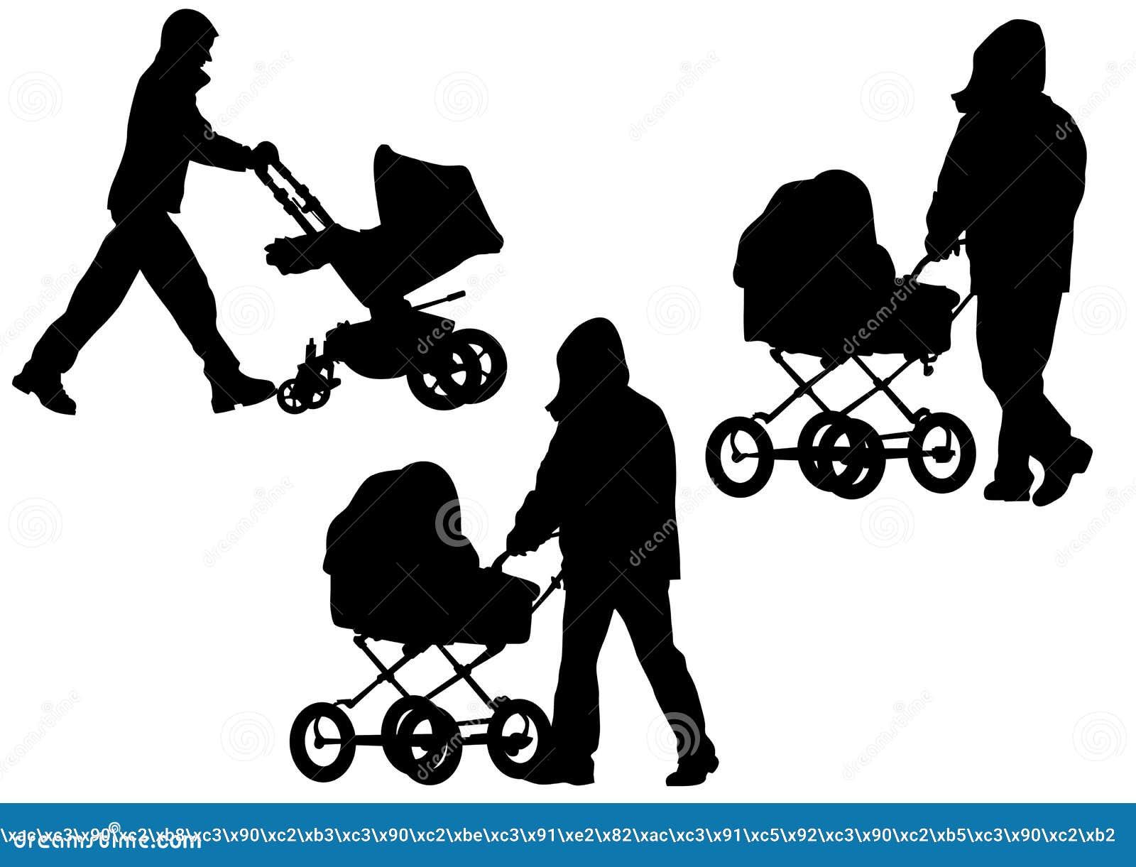 Vater mit einem kinderwagen vektor abbildung - Schattenbilder kinder ...