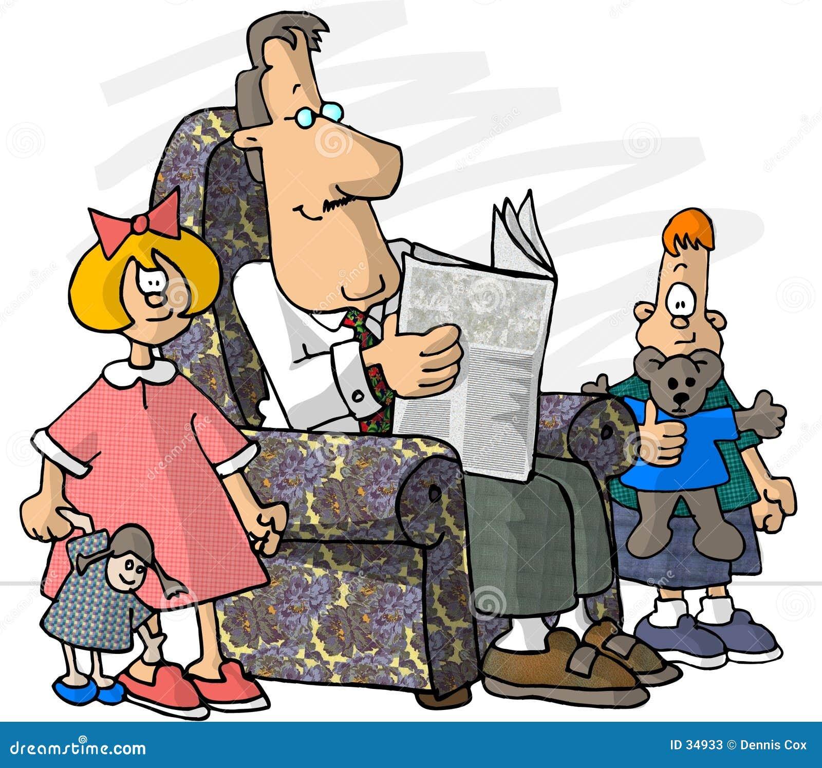 Download Vater und seine Kinder stock abbildung. Illustration von lustig - 34933