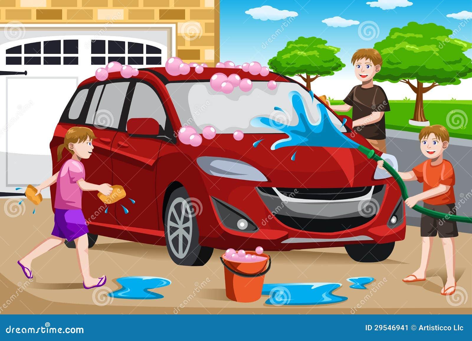 vater und seine kinder die auto waschen vektor abbildung illustration von tochter frau 29546941. Black Bedroom Furniture Sets. Home Design Ideas