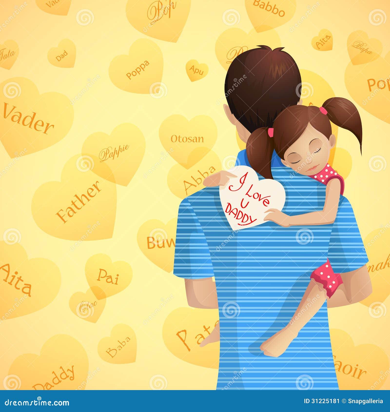 des Vaters zu redigieren Tochter am Vatertag halten