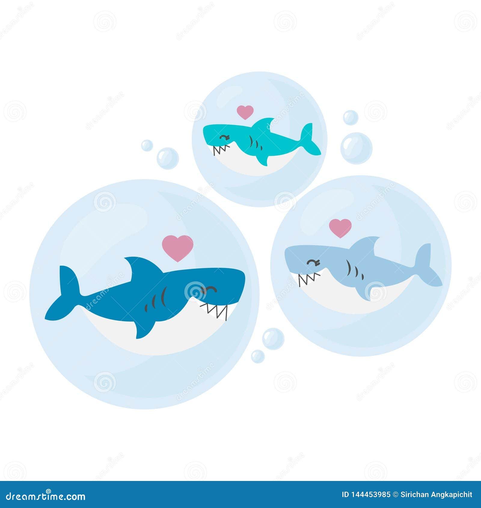 Vati-, Mutter- und Babyhaifischkarikatur