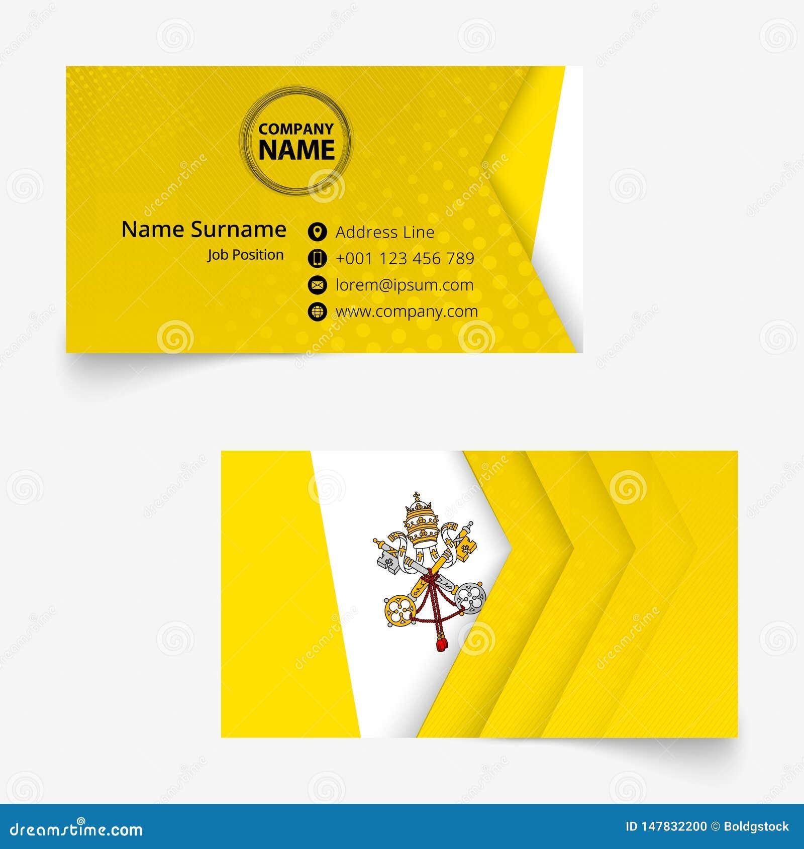 vatican city flag business card standard size 90x50 mm