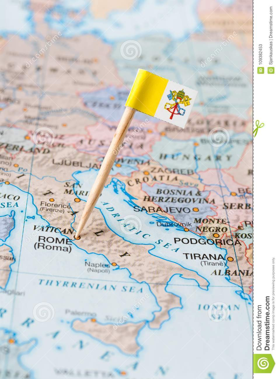 Vatican City Flag Pin On A Country Map Stock Image
