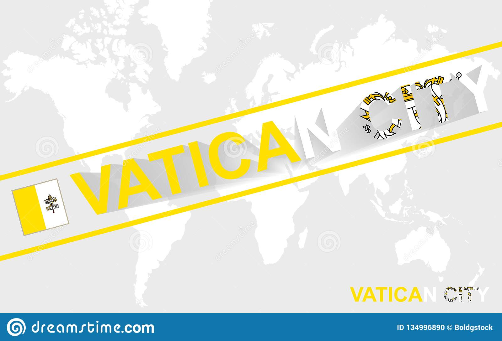 Vatican City On World Map.Vatican City Map Flag And Text Illustration Stock Vector