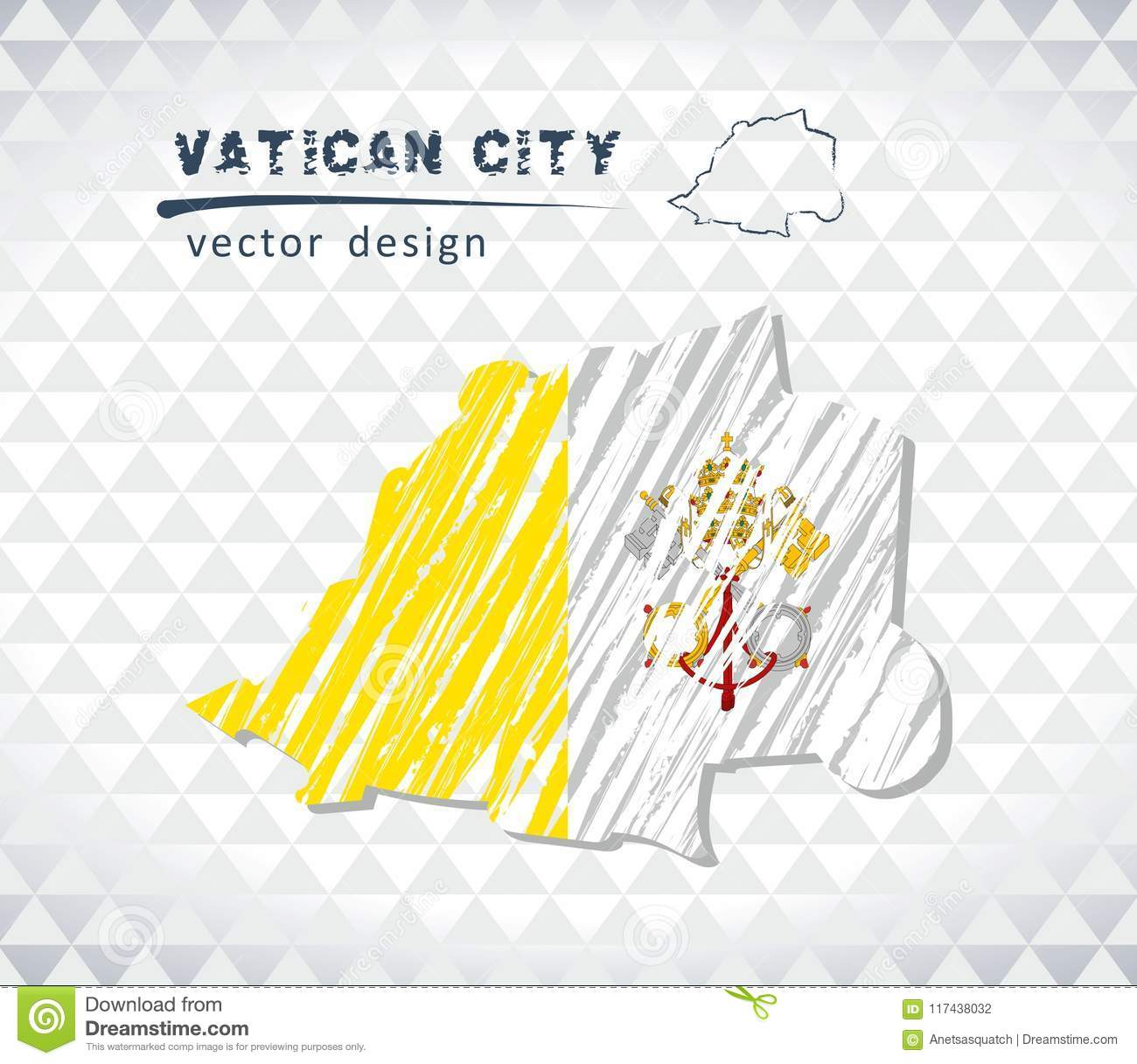 Vatican City Vector Map With Flag Inside Isolated On A White