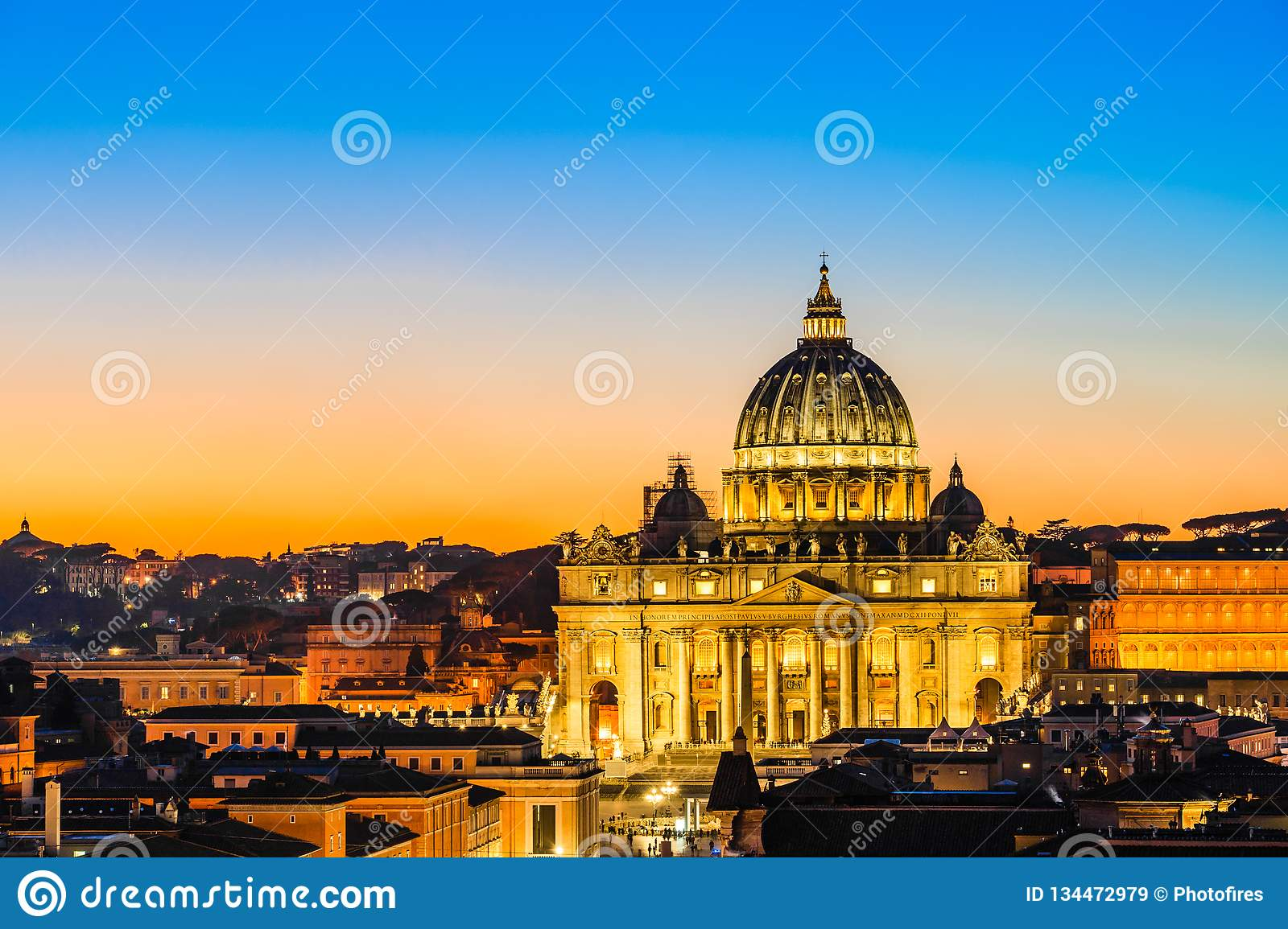 Night view of St. Peter's Basilica in Vatican City, Rome, Italy