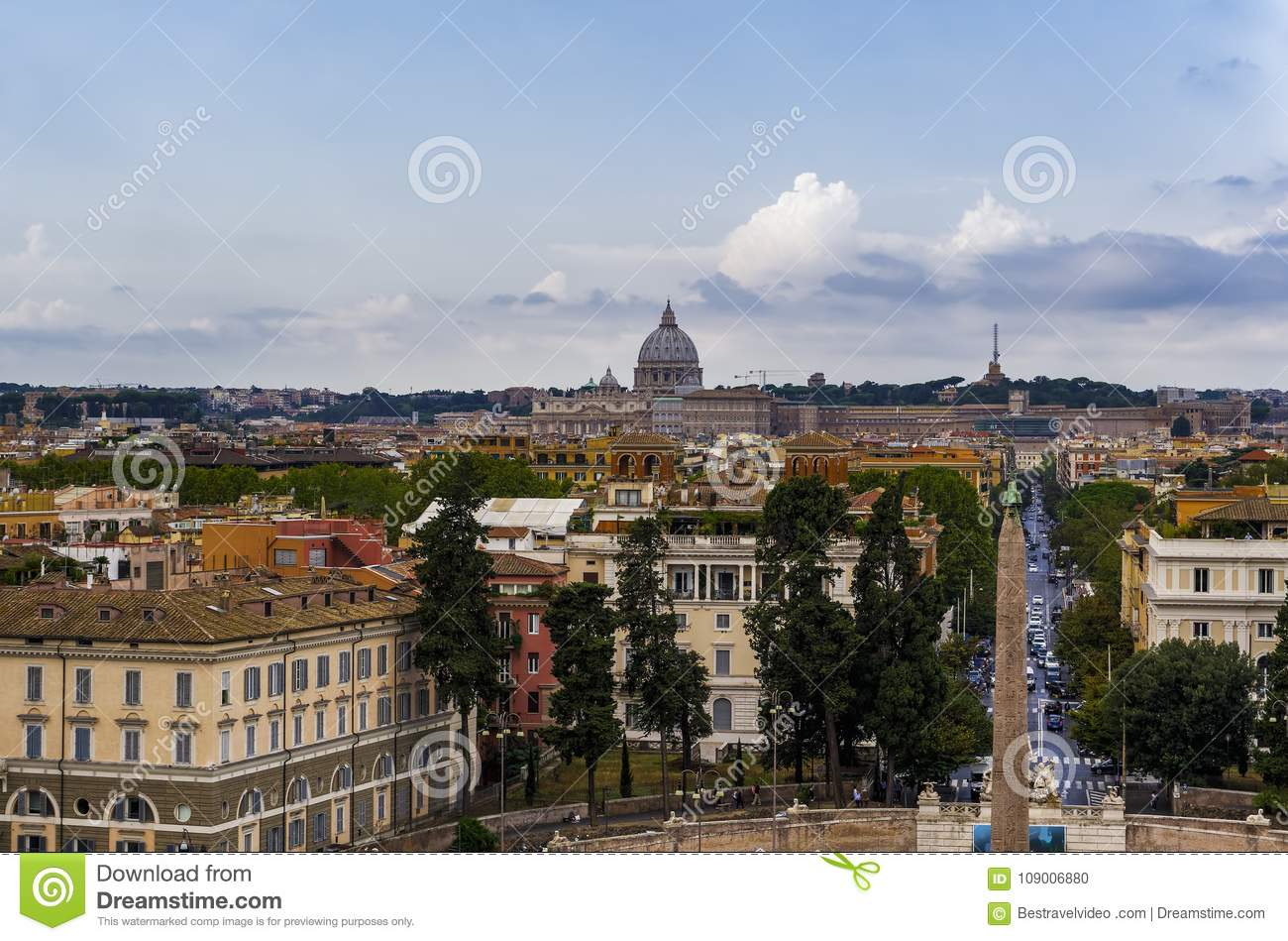 Rome, Italy Pincian Hill Promenade View. Stock Photo - Image of dome ...