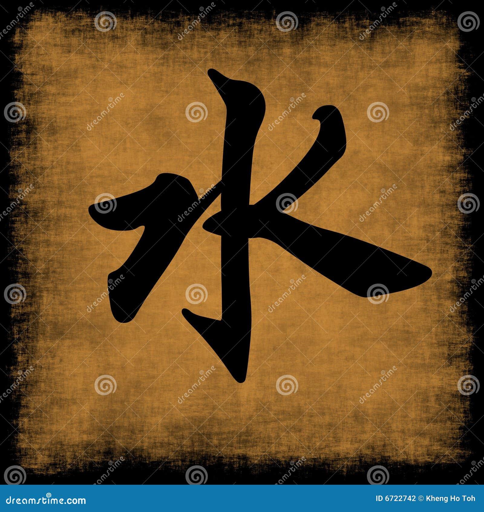 Vatten för element fem för calligraphy kinesiskt