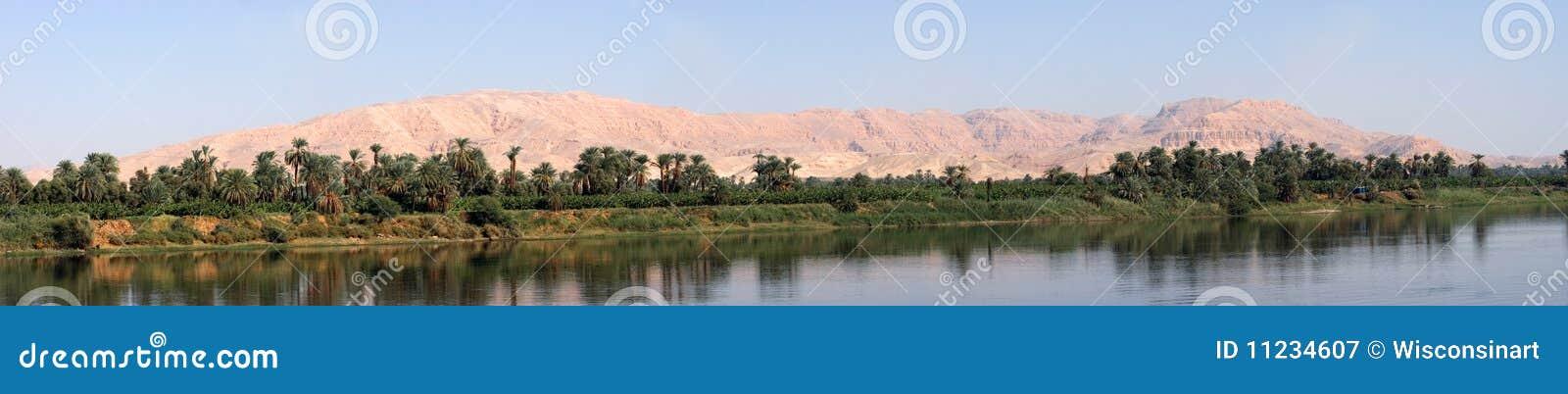 Vatten för flod för ökenegypt nile panorama panorama-
