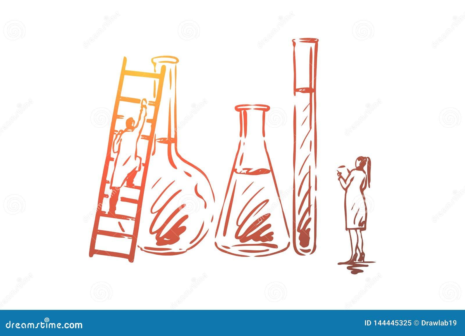 Vatten kemikalie, vetenskap, labb, vetenskapligt begrepp Hand dragen isolerad vektor