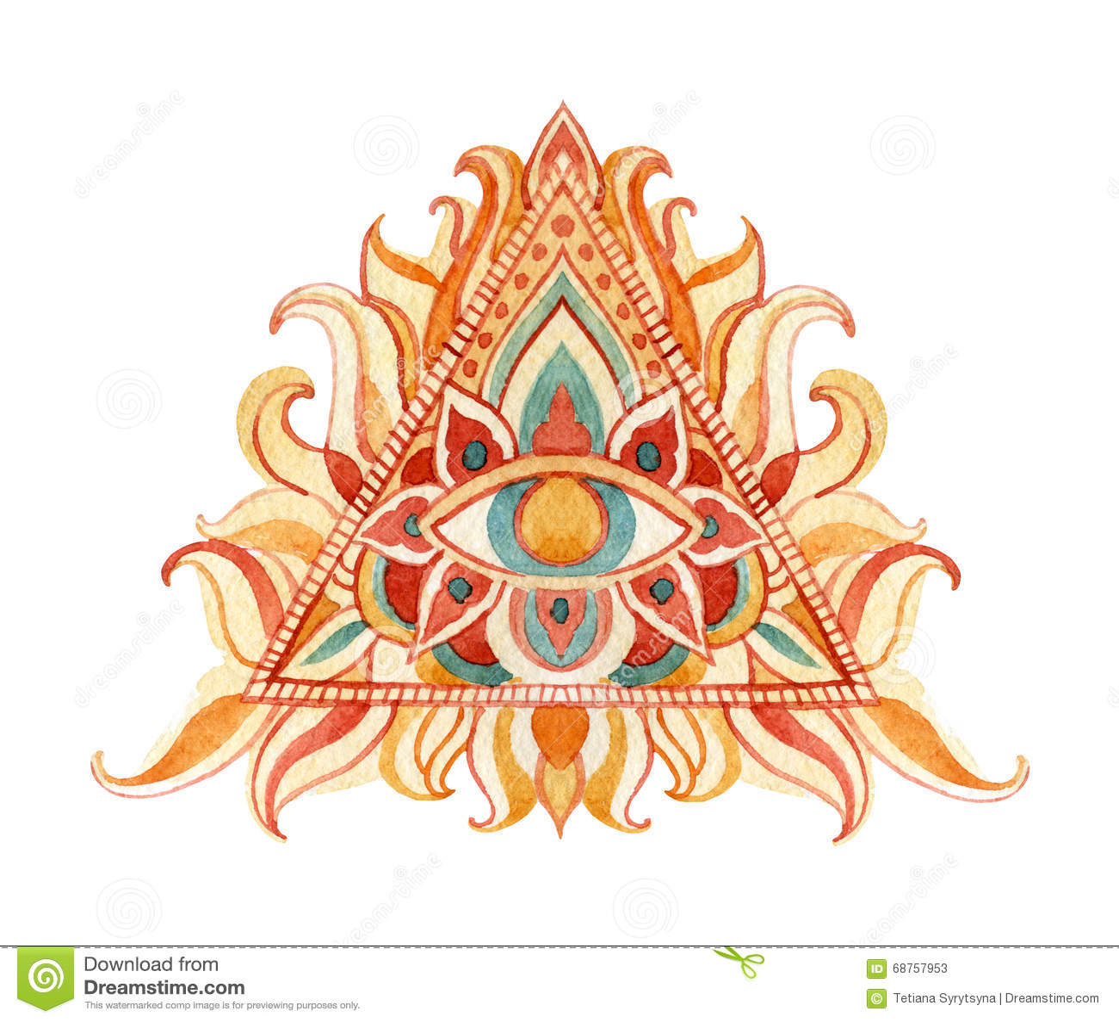 Vattenfärg allt seende ögonsymbol i pyramid