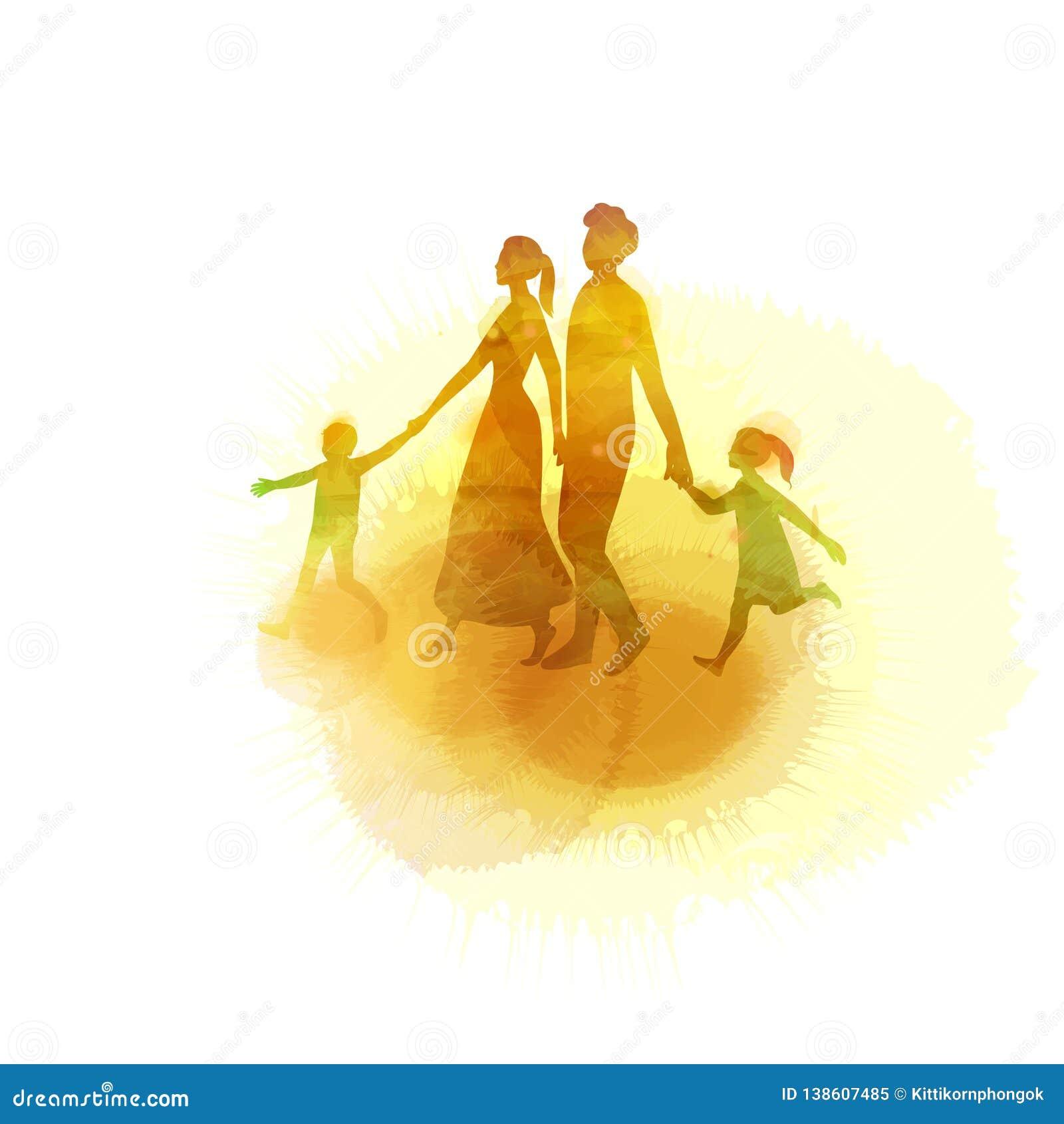 Vattenfärg av lyckliga föräldrar som har bra tid med deras lilla barn Familj på rosa bakgrund papperssnittstil vektor