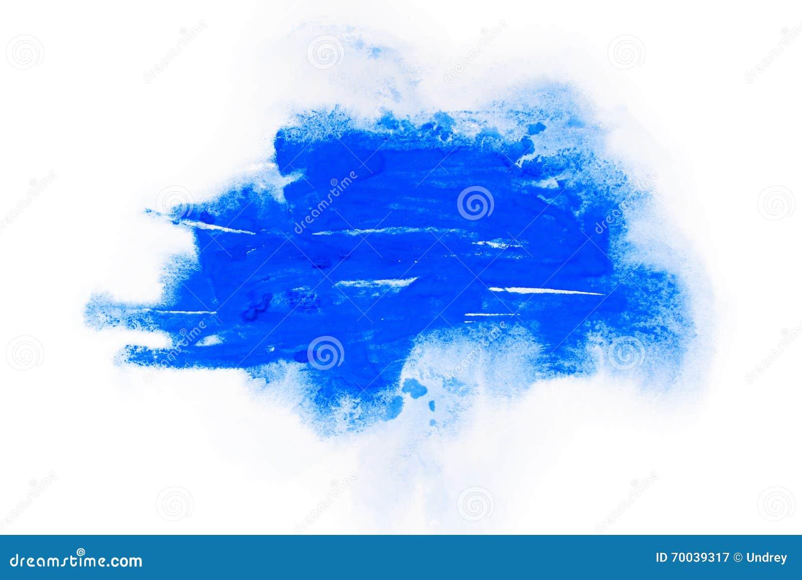 Vattenfärg gouachemålarfärg Blåa abstrakta fläckar plaskar färgstänk med grov textur