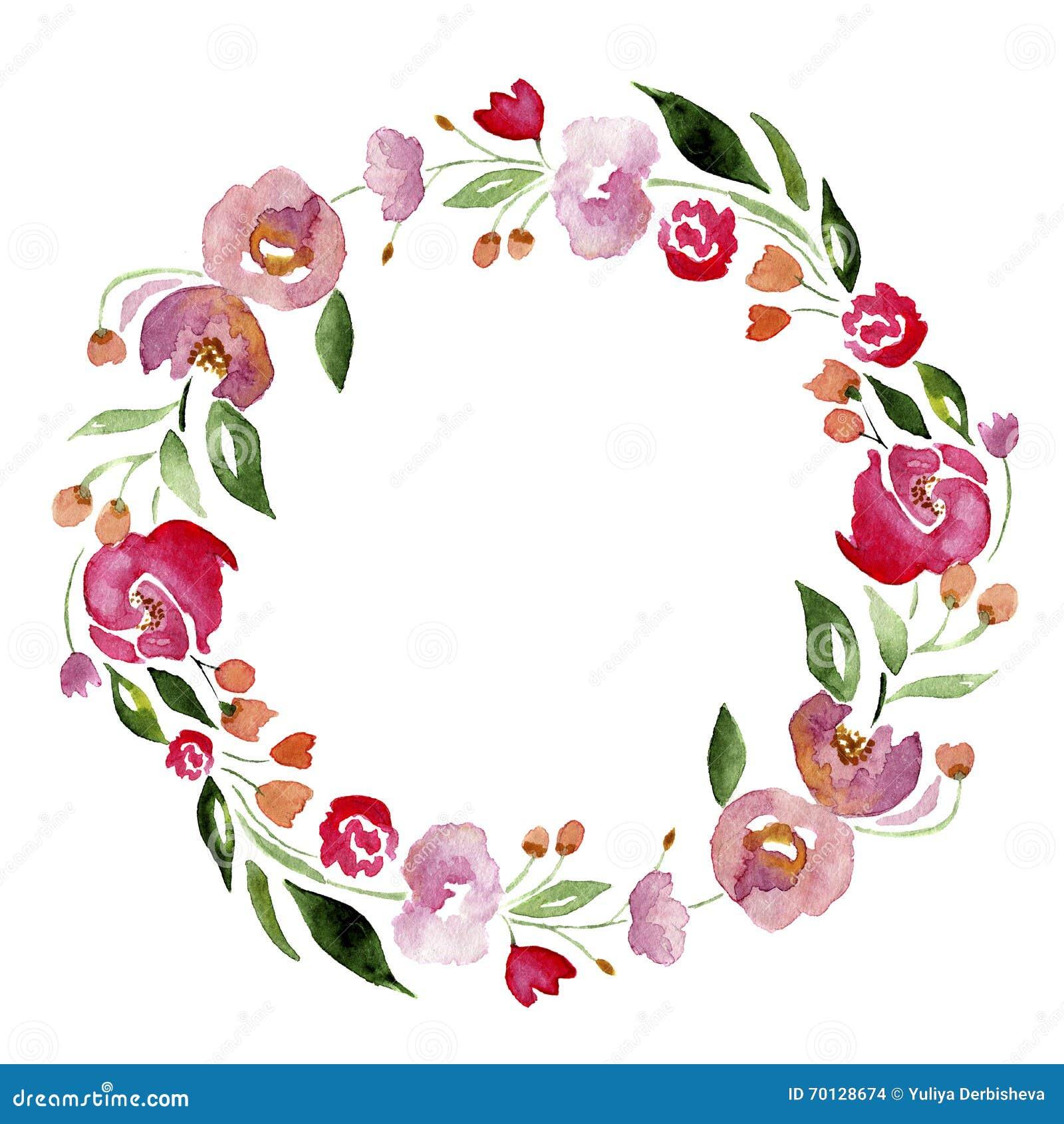 Vattenfärg hand-dragen blommakrans för design Konstnärlig isolerad illustration