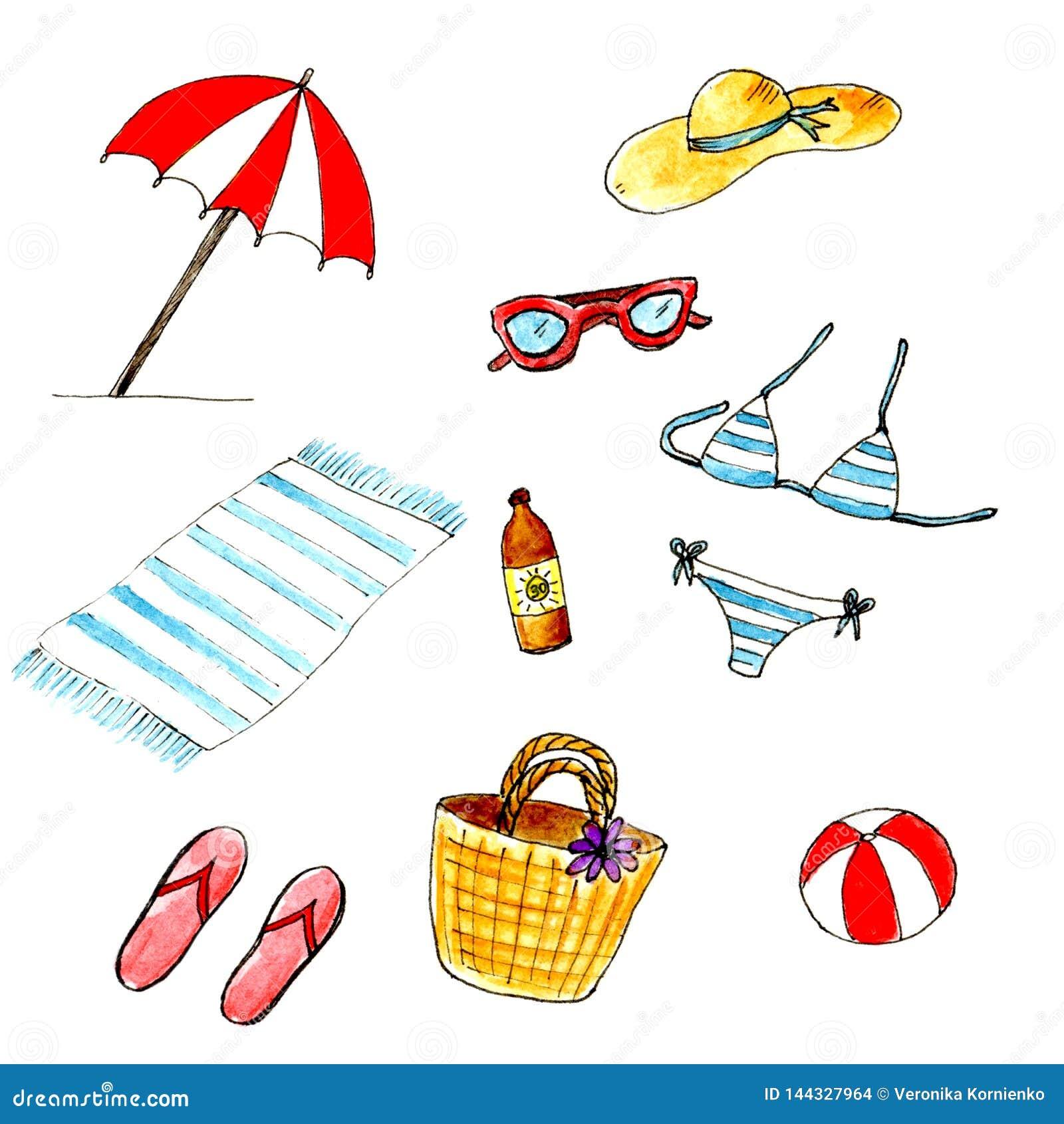 Vattenfärg isolerad sommarstranduppsättning Sommarferier och att ha vilar på stranden