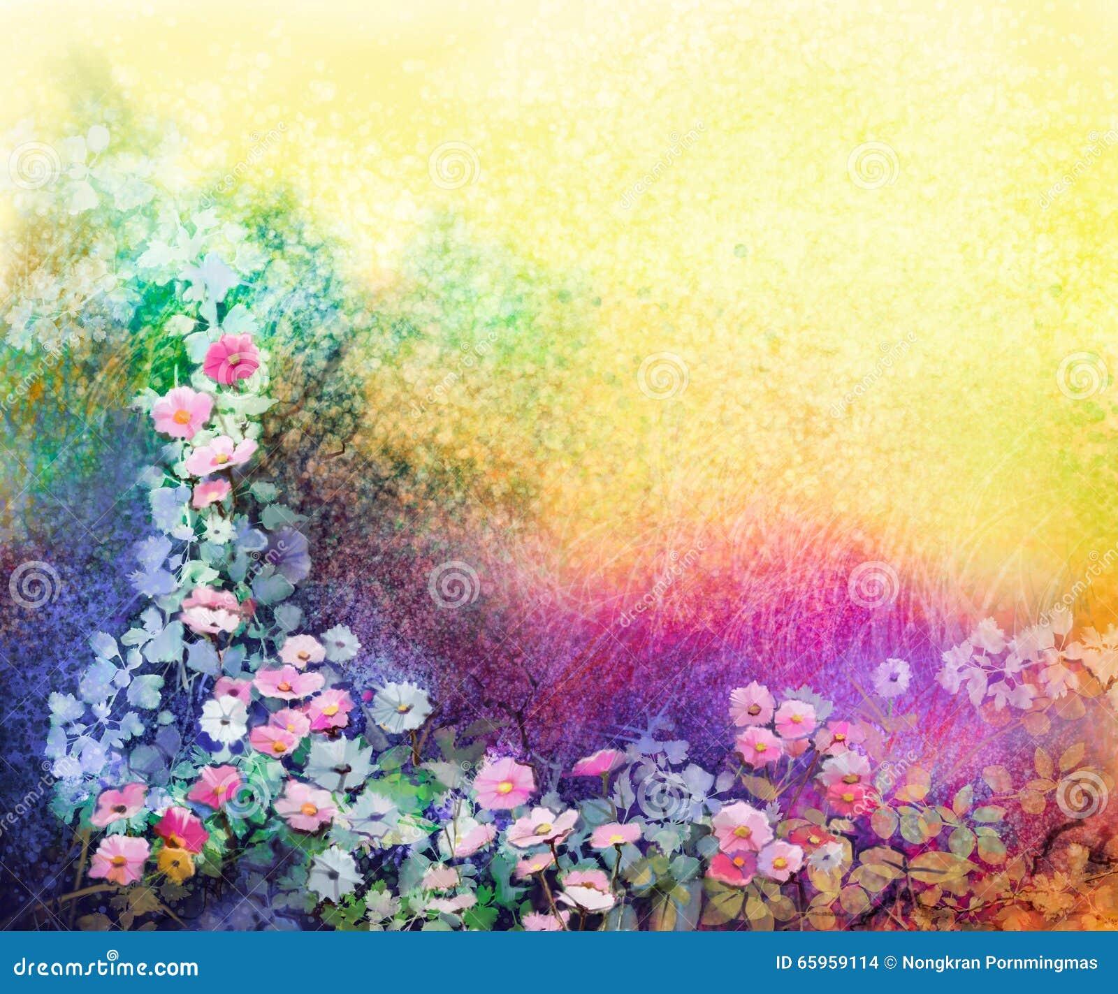 Vattenfärgblommamålning Räcka målade gula och röda murgrönablommor för vit,
