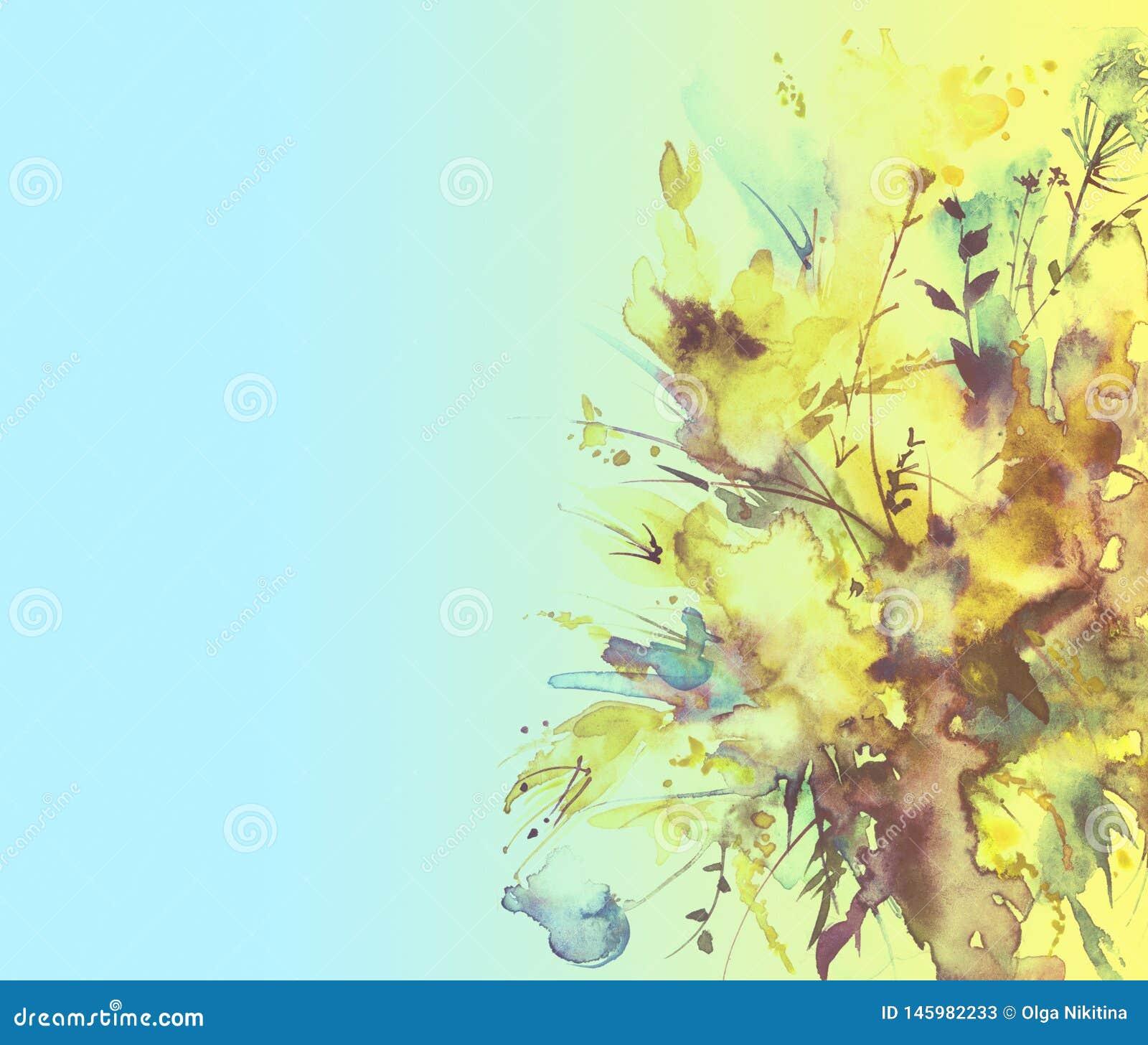 Vattenfärgbukett av blommor, härlig abstrakt färgstänk av målarfärg, modeillustration Orkidéblommor, vallmo, blåklint, gladio