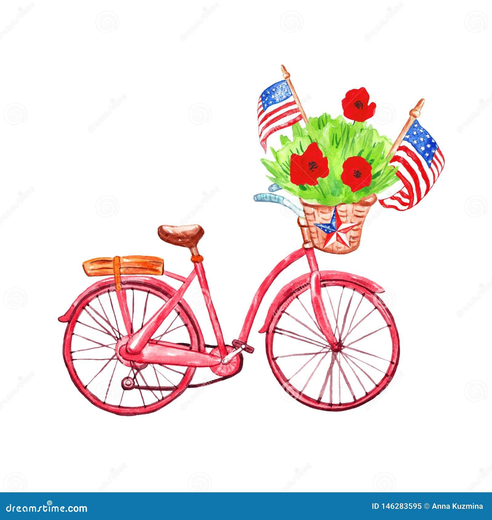 Vattenf?rgcykel med den patriotiska dekoren f?r minnesdagenkort 4th av det juli banret med USA-flaggor och vallmo, isolerat p? vi