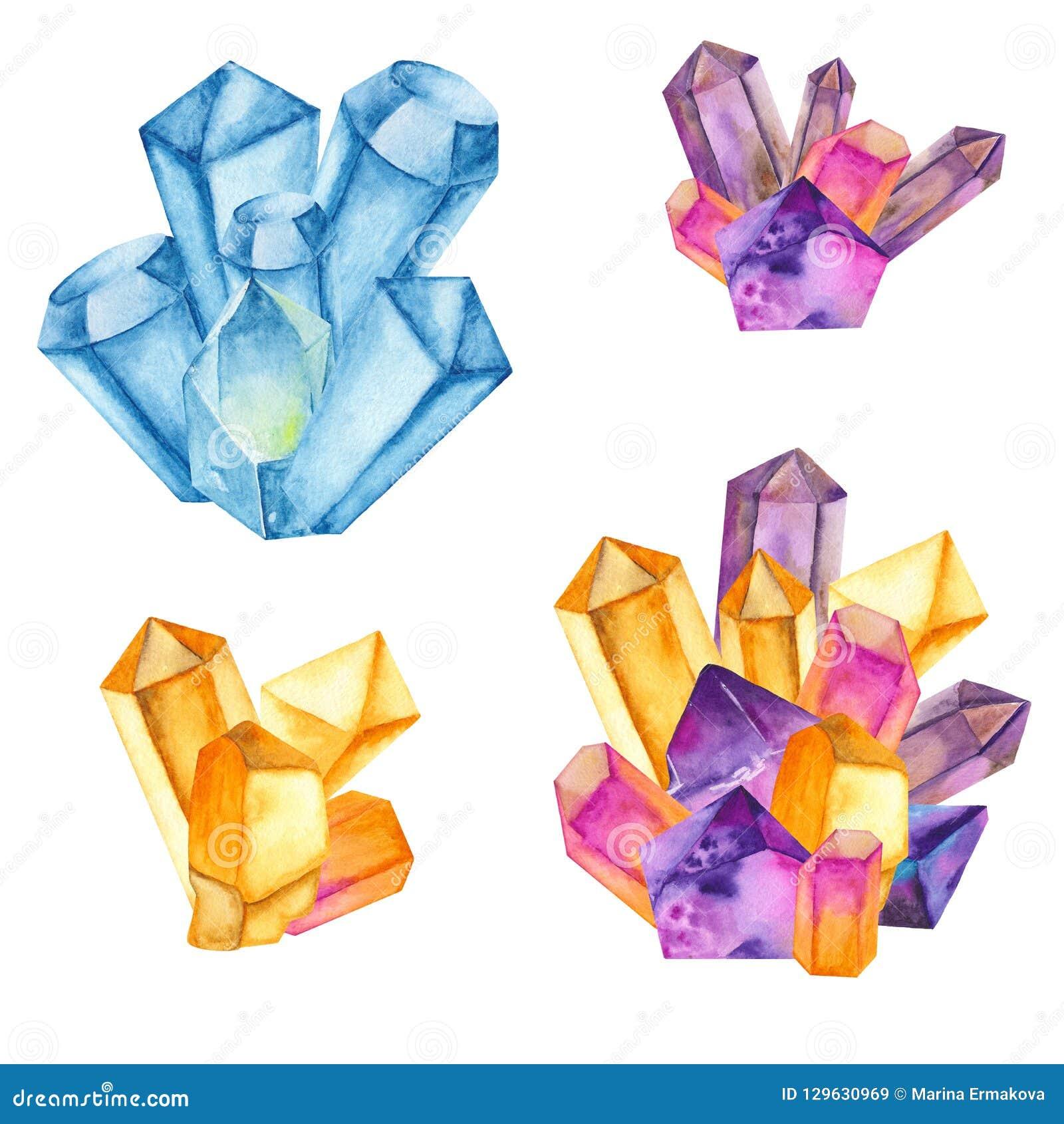 Vattenfärgen färgade kristaller