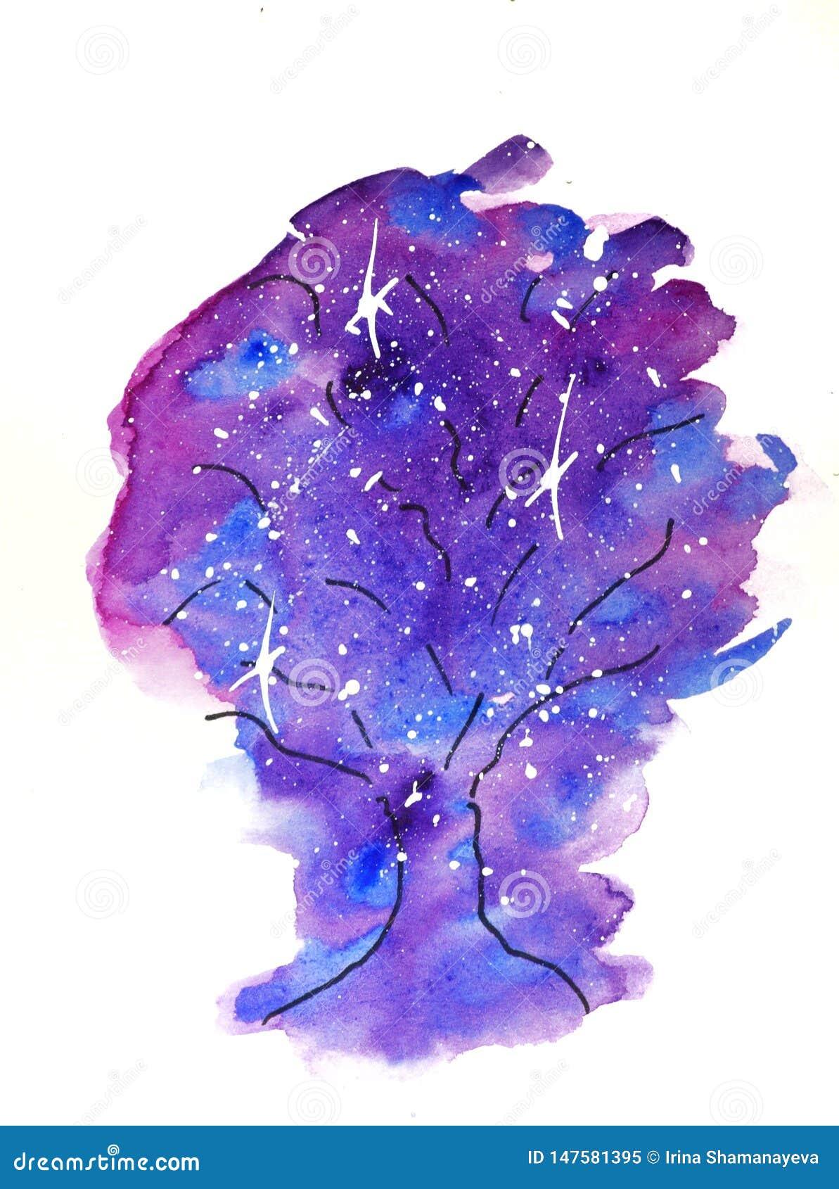Vattenf?rgen skissar illustrationen, tatueringstil: kontur av ett tr?d mot en bakgrund av rosa och lila fl?ckar, som kosmos med