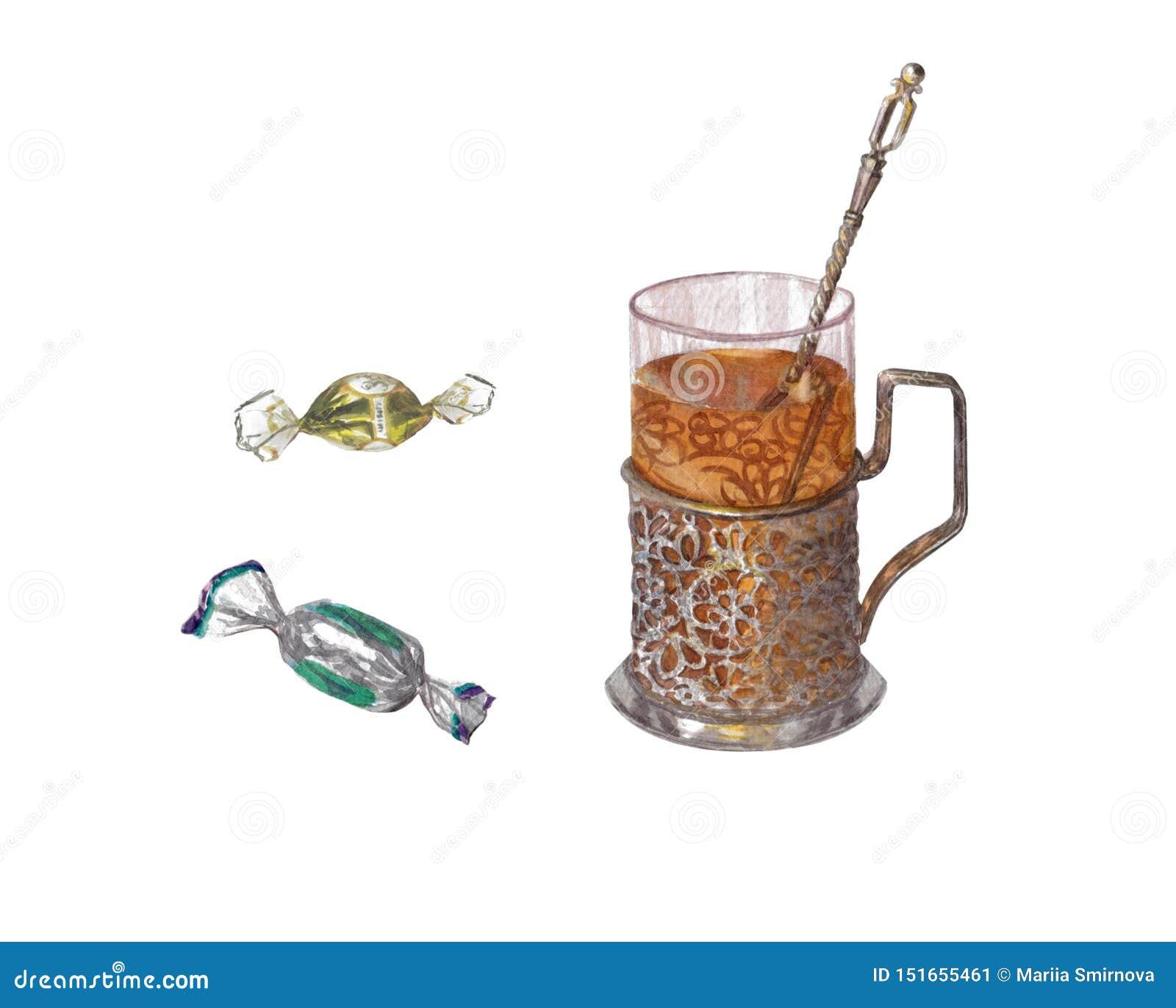 Vattenfärgen ställde in av choklader och den antika kopphållaren för te
